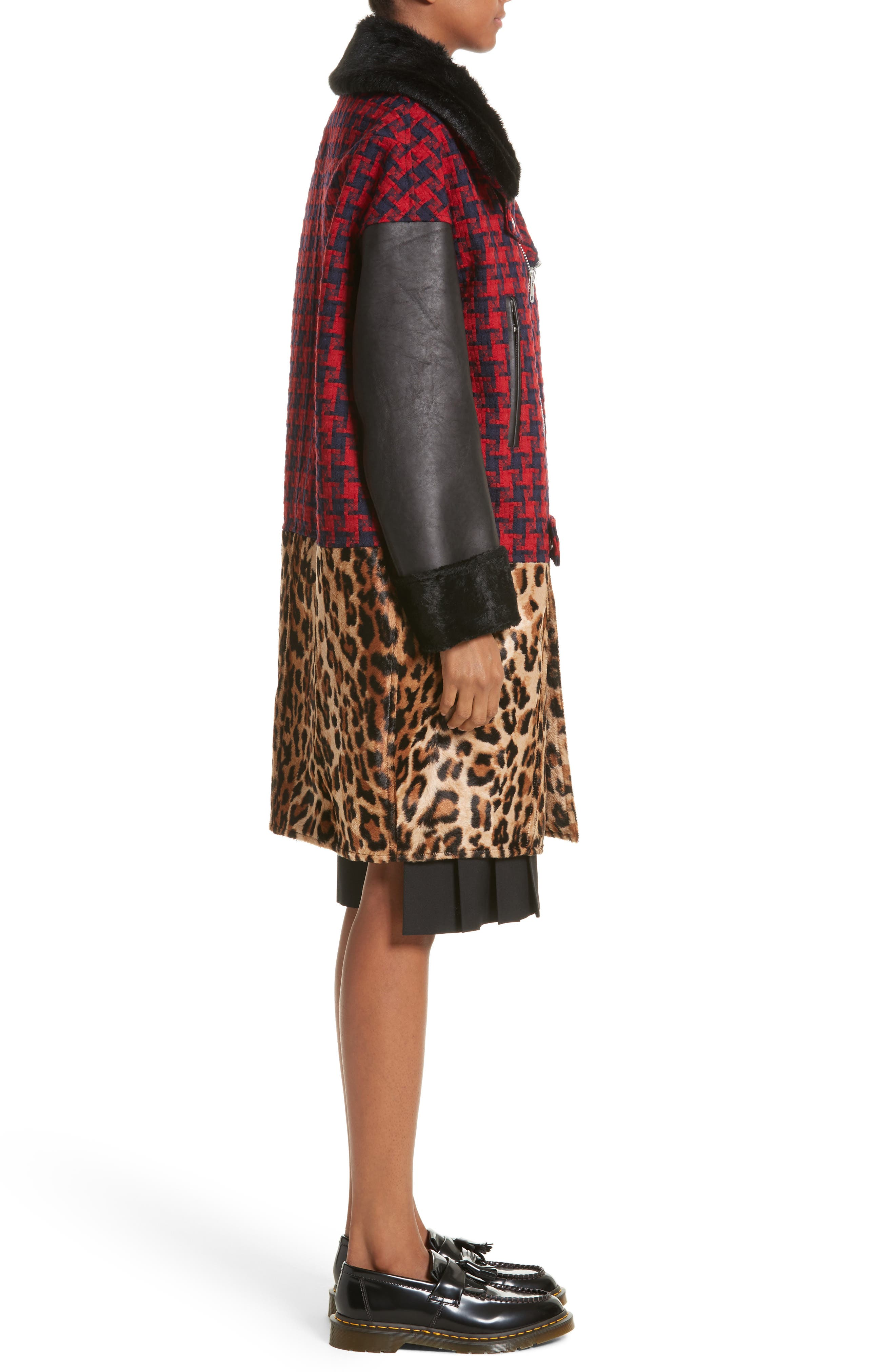 Buffalo Check Moto Jacket with Faux Fur Trim,                             Alternate thumbnail 3, color,                             Red/Nvy X Bge/Brn