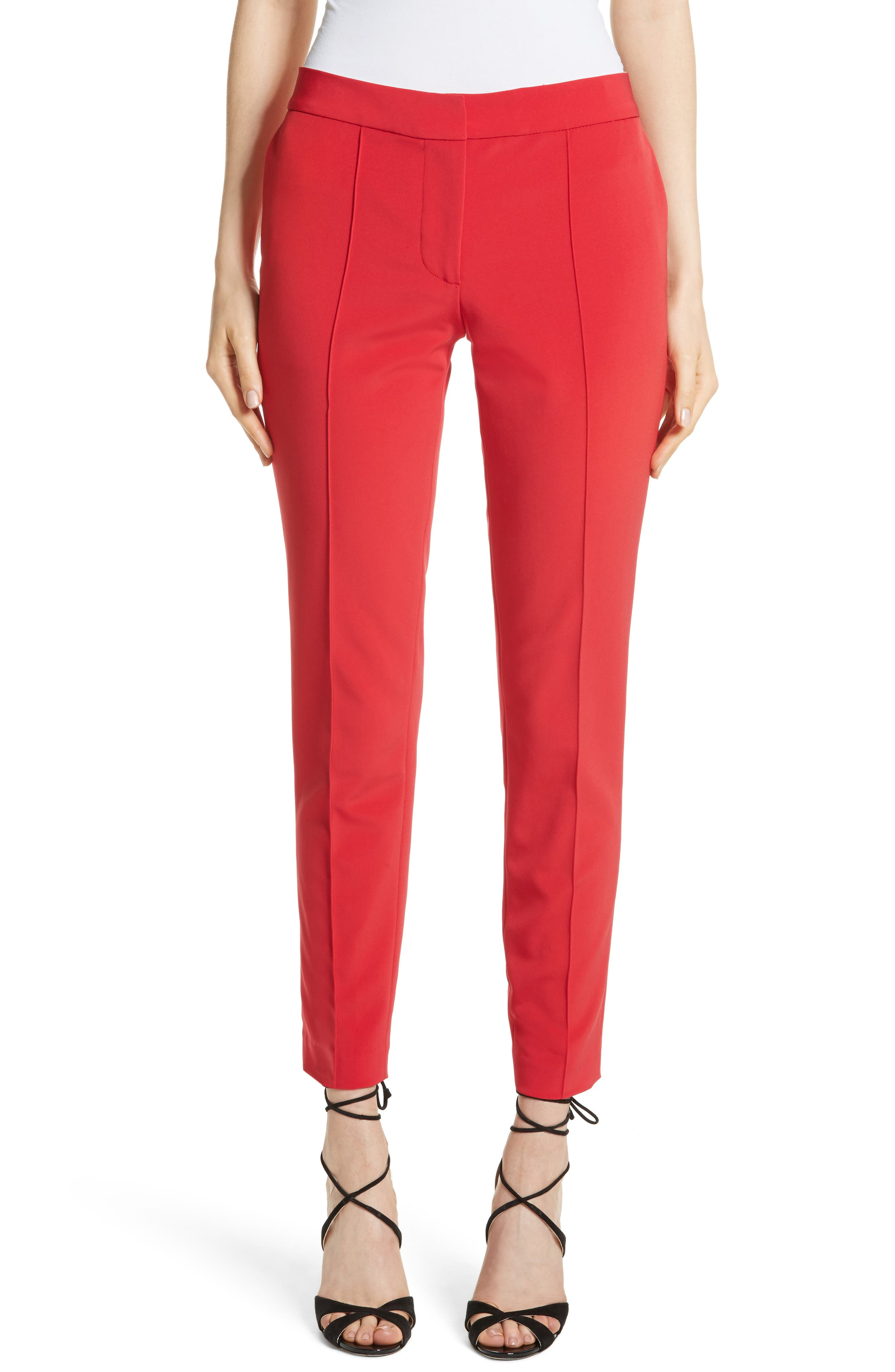 Crop Bi-Stretch Pants,                         Main,                         color, Red