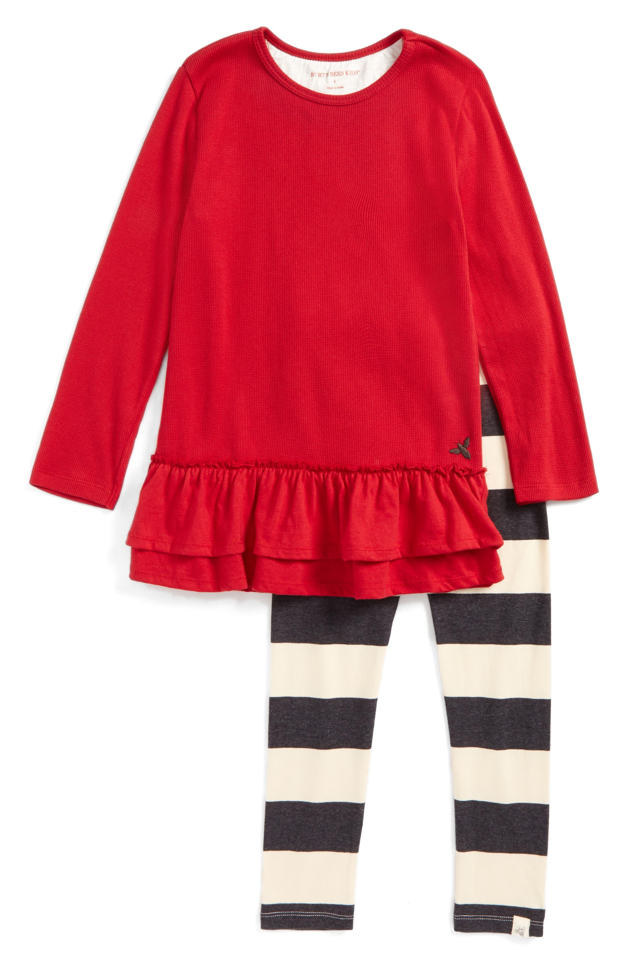 Burt's Bees Baby Thermal Ruffle Skater Dress & Leggings Set (Toddler Girls & Little Girls)