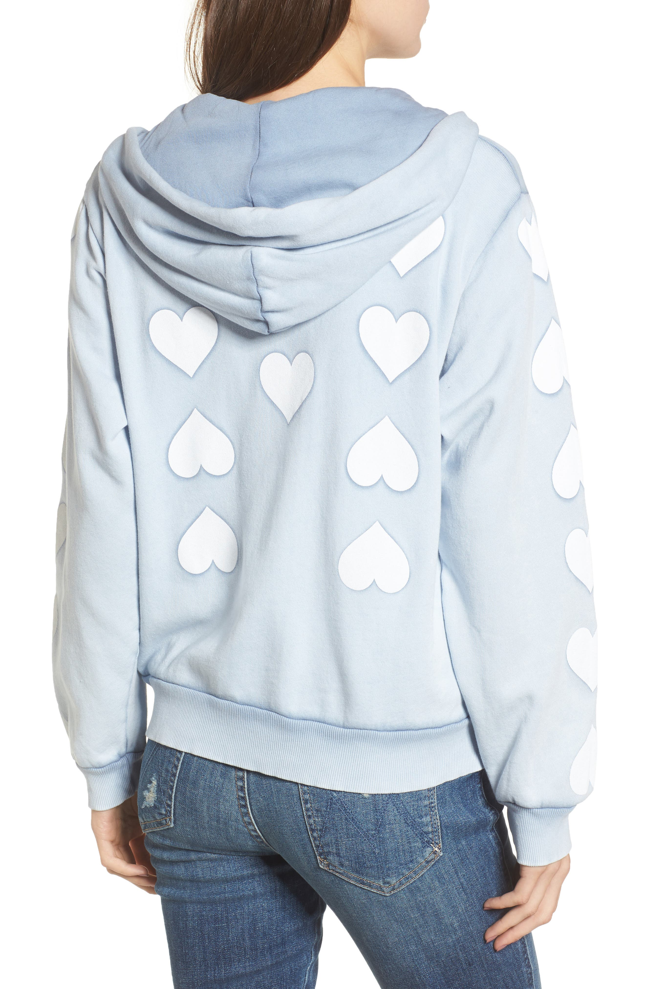 Heart of Hearts Zip Hoodie,                             Alternate thumbnail 2, color,                             Blue Ribbon