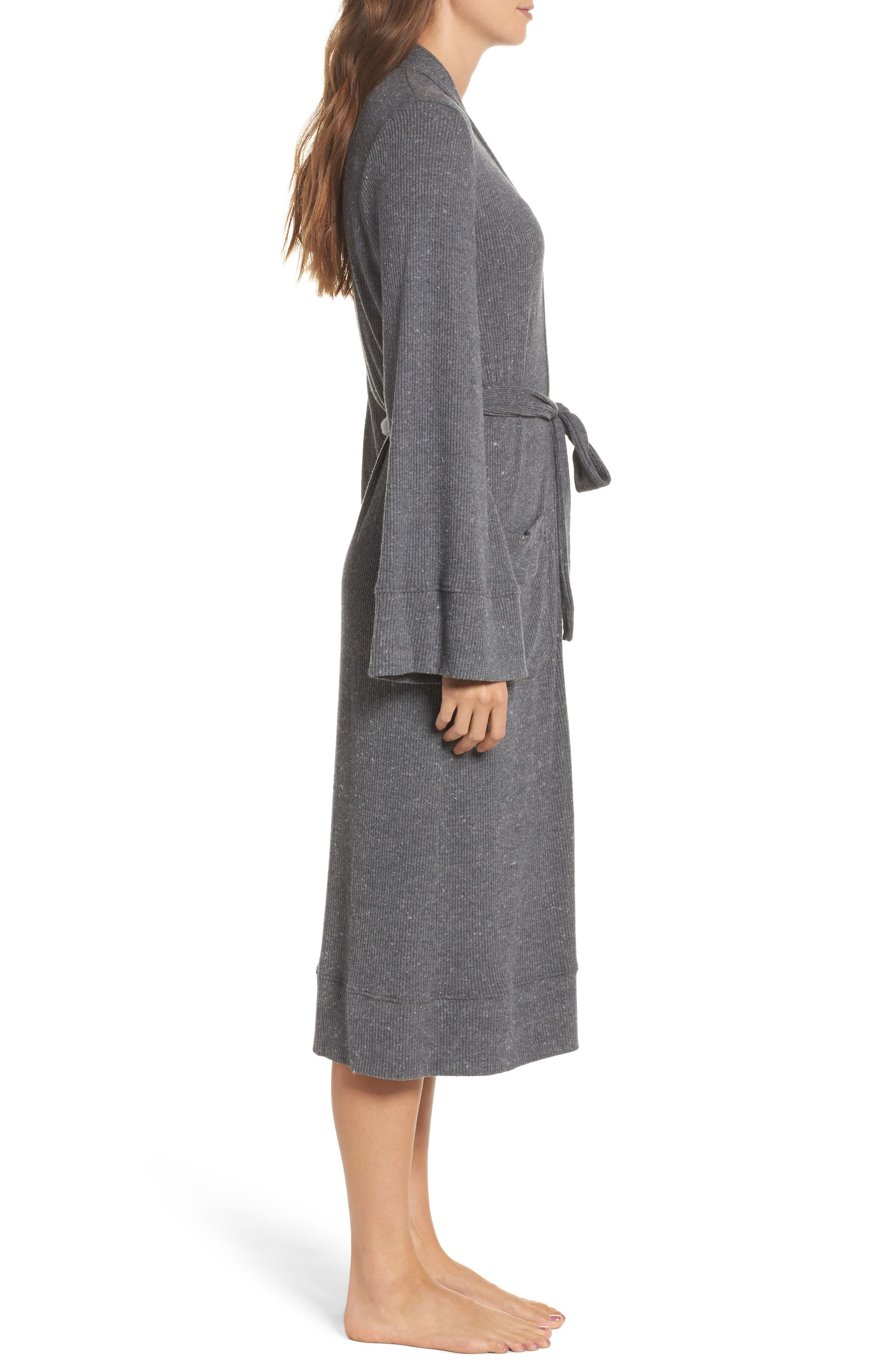 Love Knit Ribbed Robe,                             Alternate thumbnail 3, color,                             Charcoal