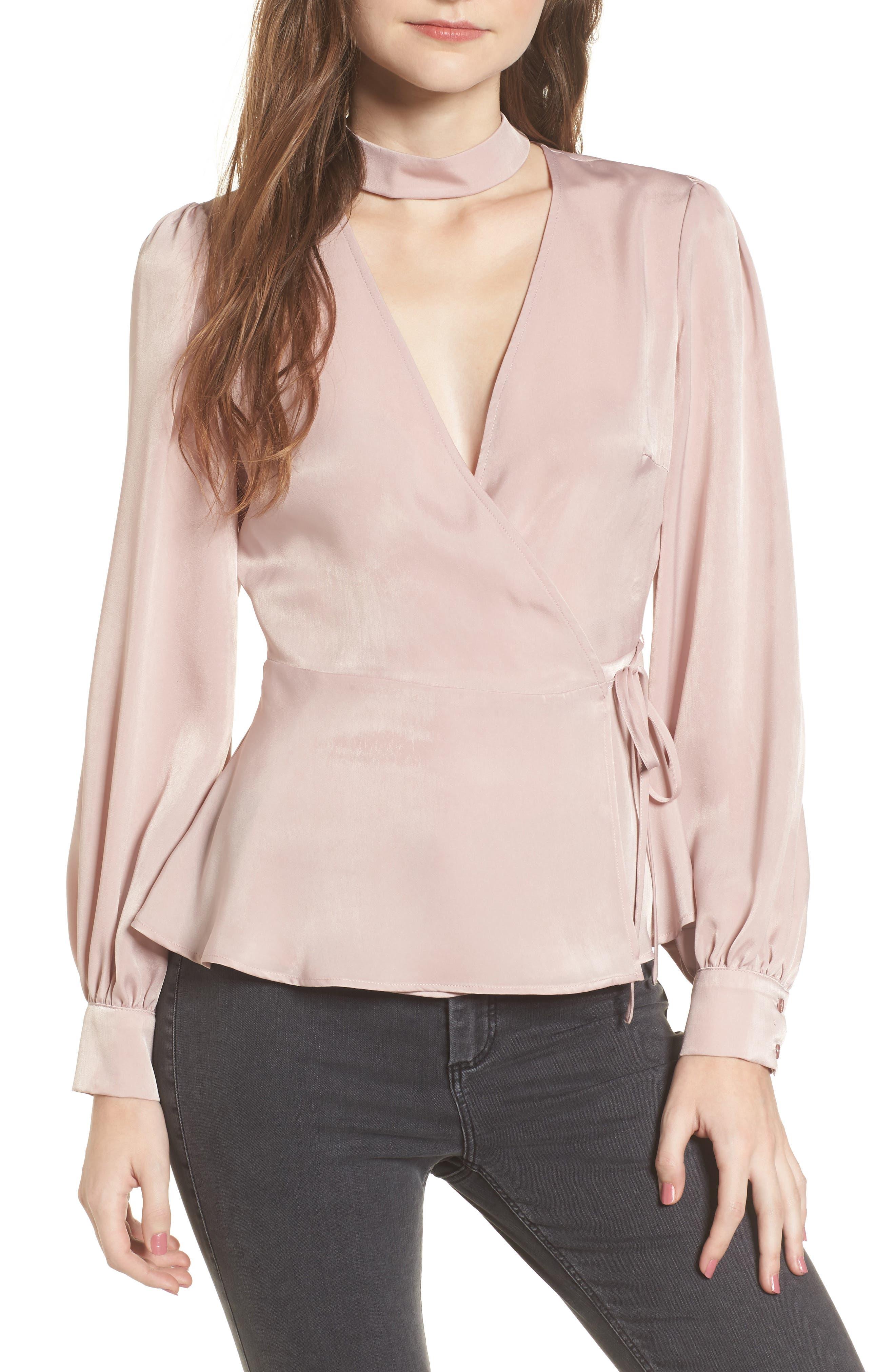 Choker Detail Wrap Blouse,                         Main,                         color, Pink Adobe