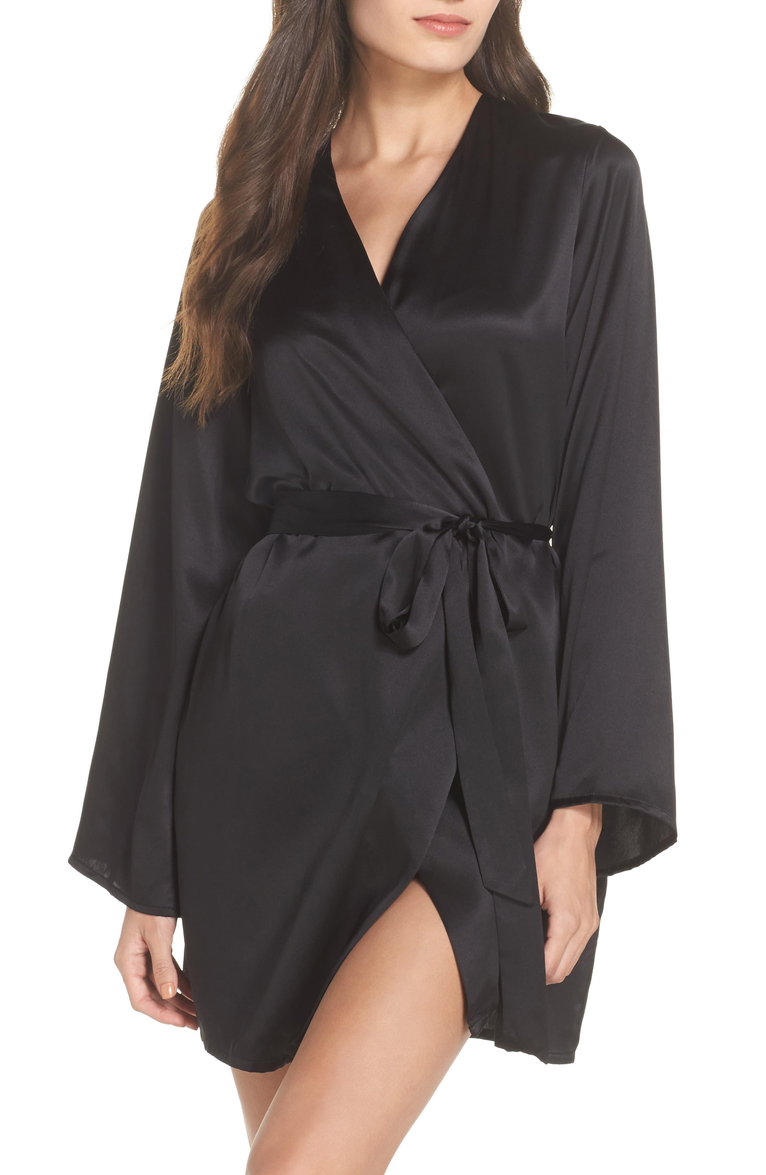 Langley Silk Charmeuse Short Robe,                             Main thumbnail 1, color,                             Noir