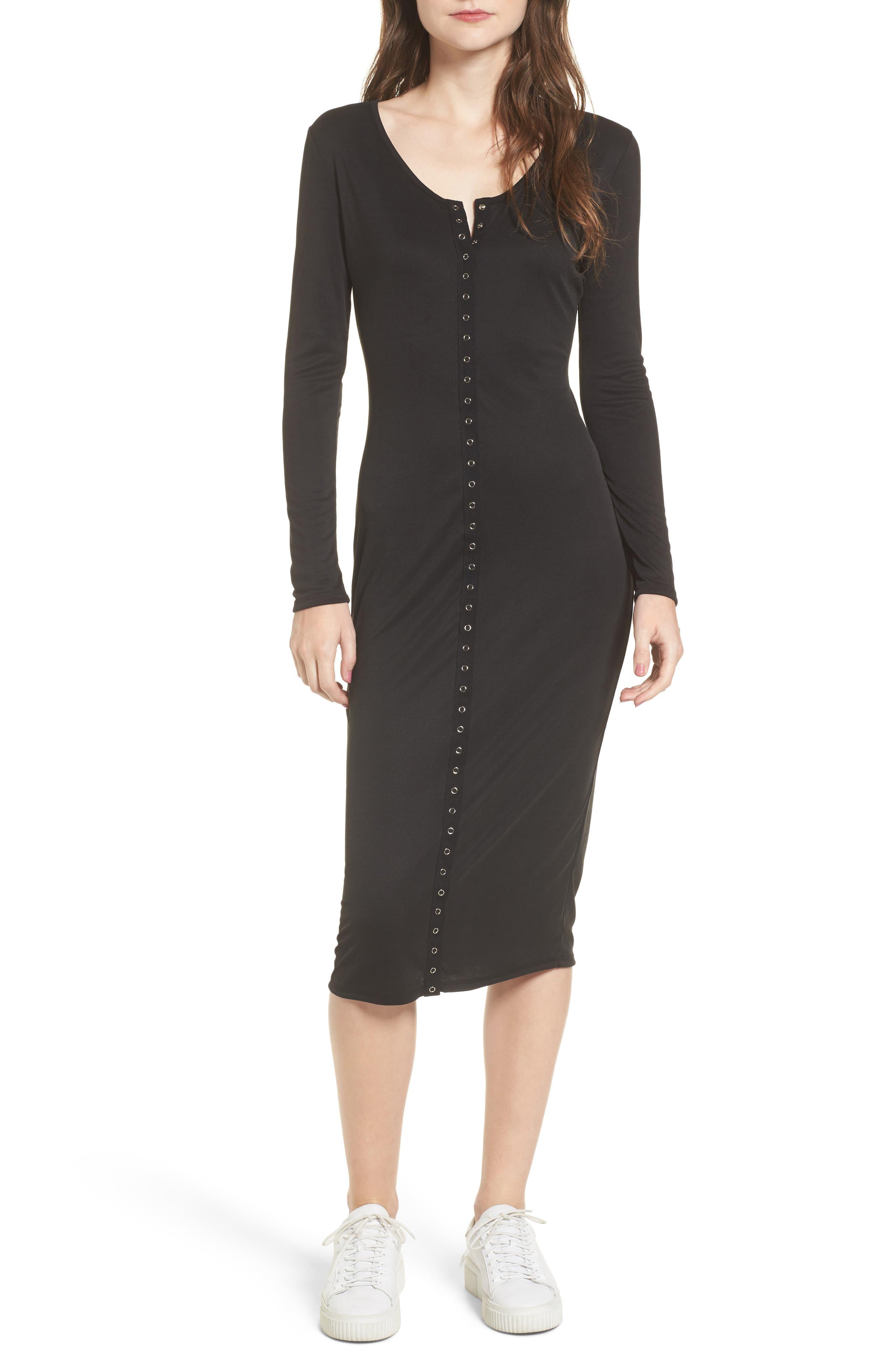 Snap Front Henley Dress,                         Main,                         color, Black