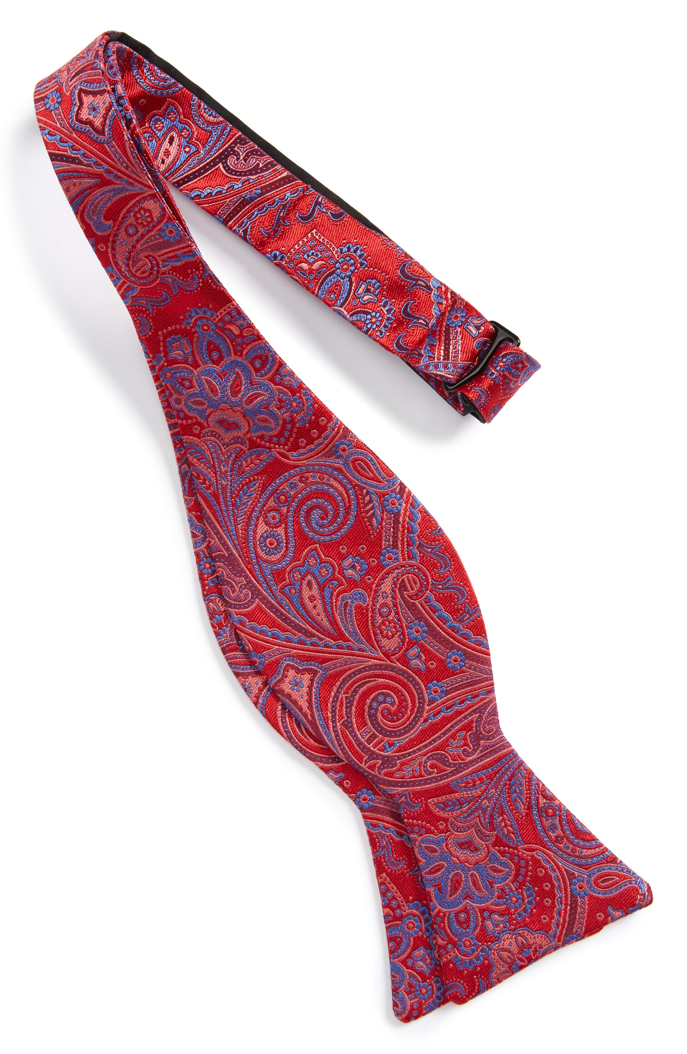 Chester Paisley Silk Bow Tie,                             Alternate thumbnail 2, color,                             Red