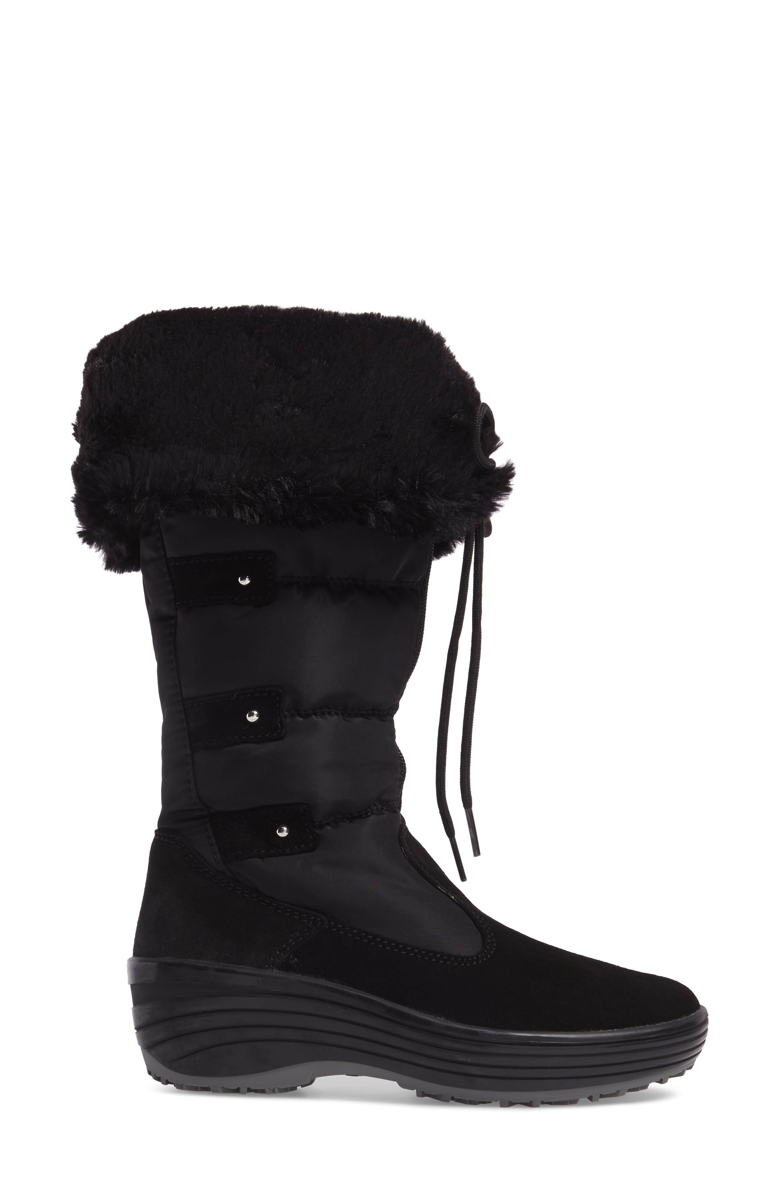 Mia Waterproof Boot with Faux Fur Trim,                             Alternate thumbnail 3, color,                             Black Suede