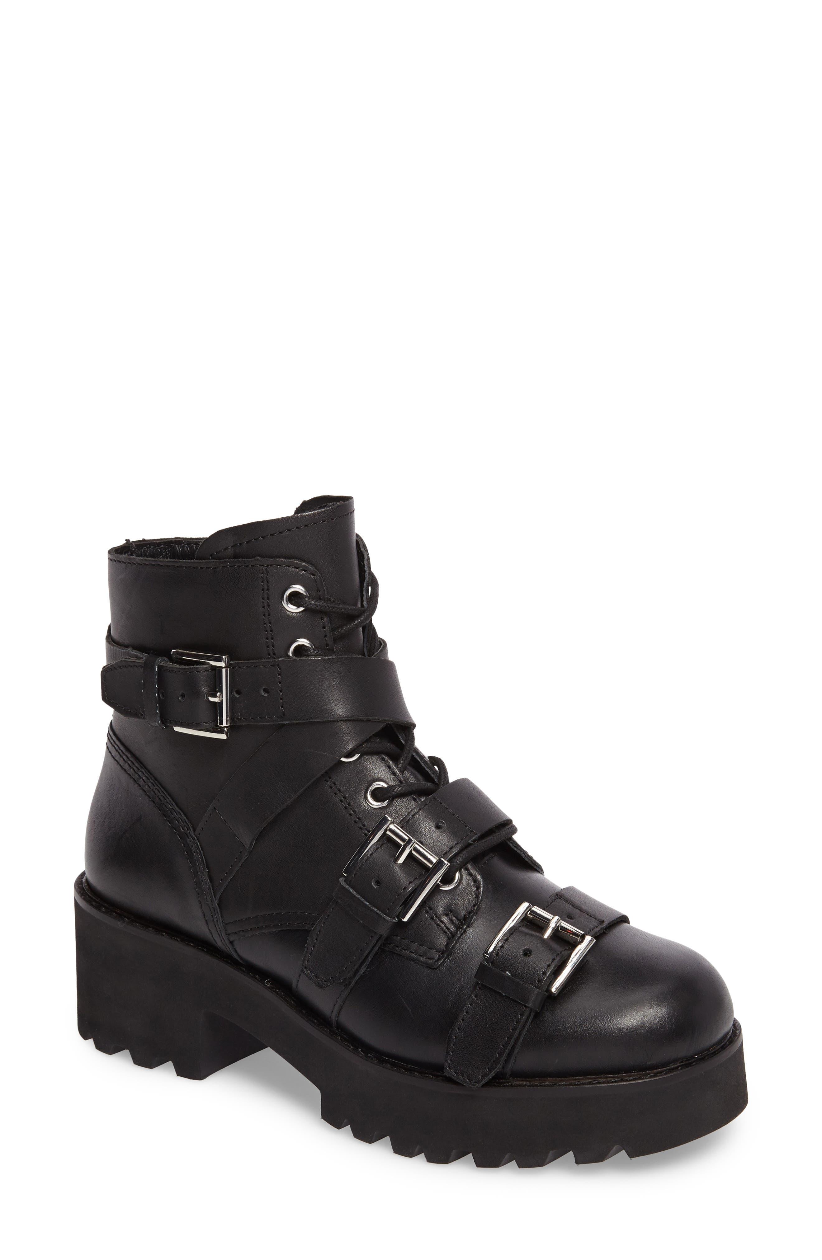 Razor Bootie,                         Main,                         color, Black Leather