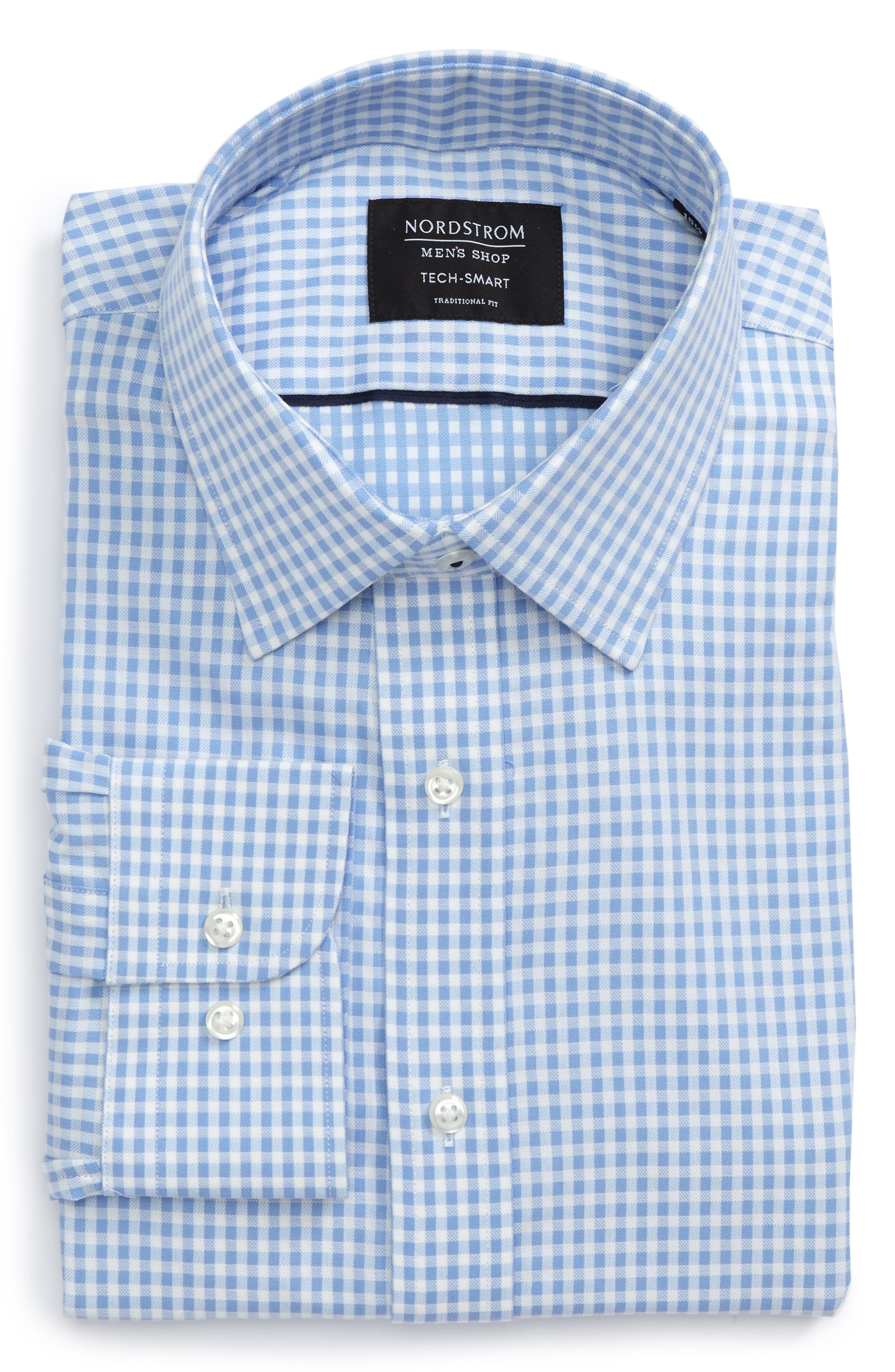 Main Image - Nordstrom Men's Shop Tech-Smart Traditional Fit Check Dress Shirt