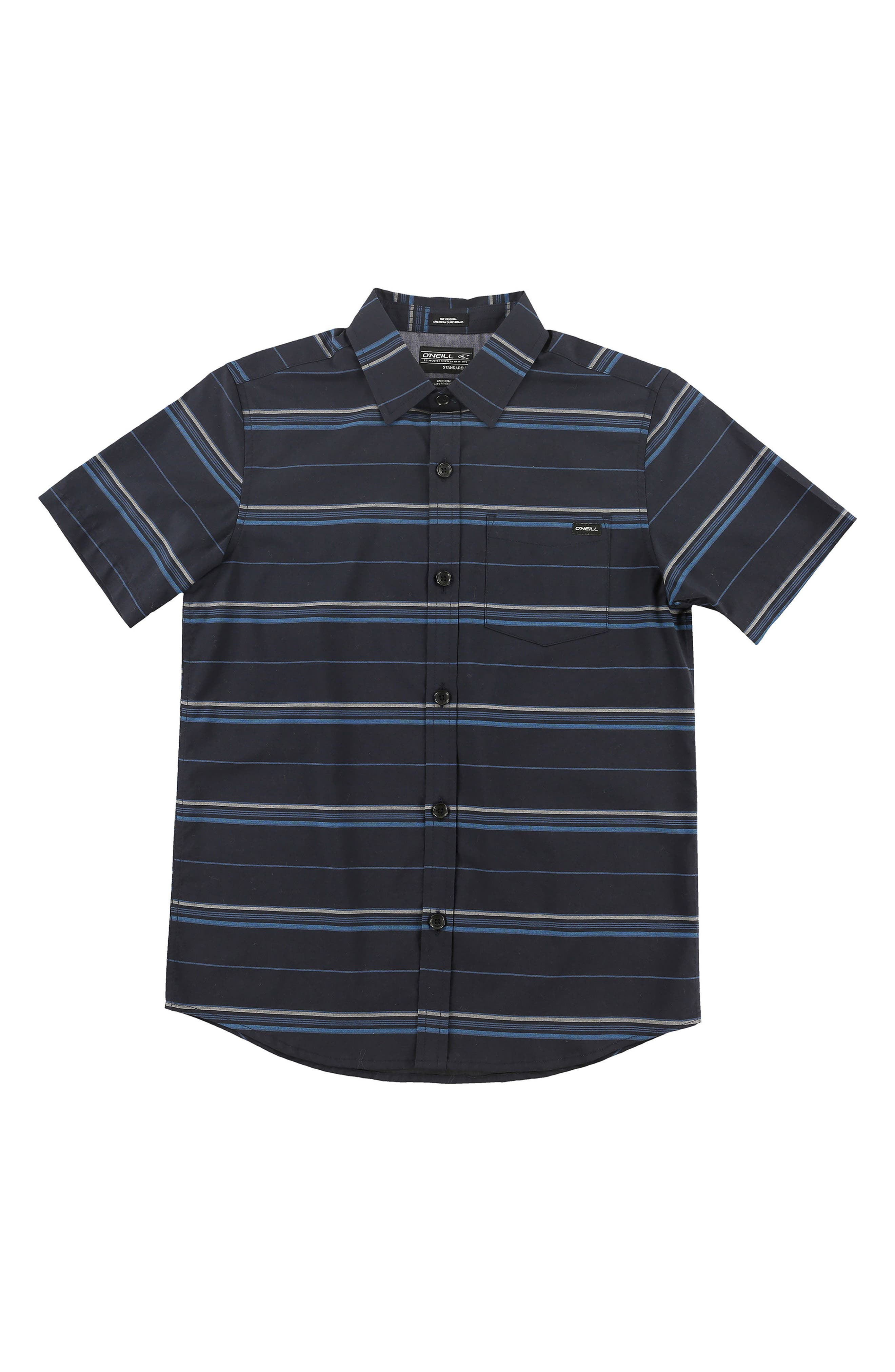 Stripe Woven Shirt,                         Main,                         color, Navy