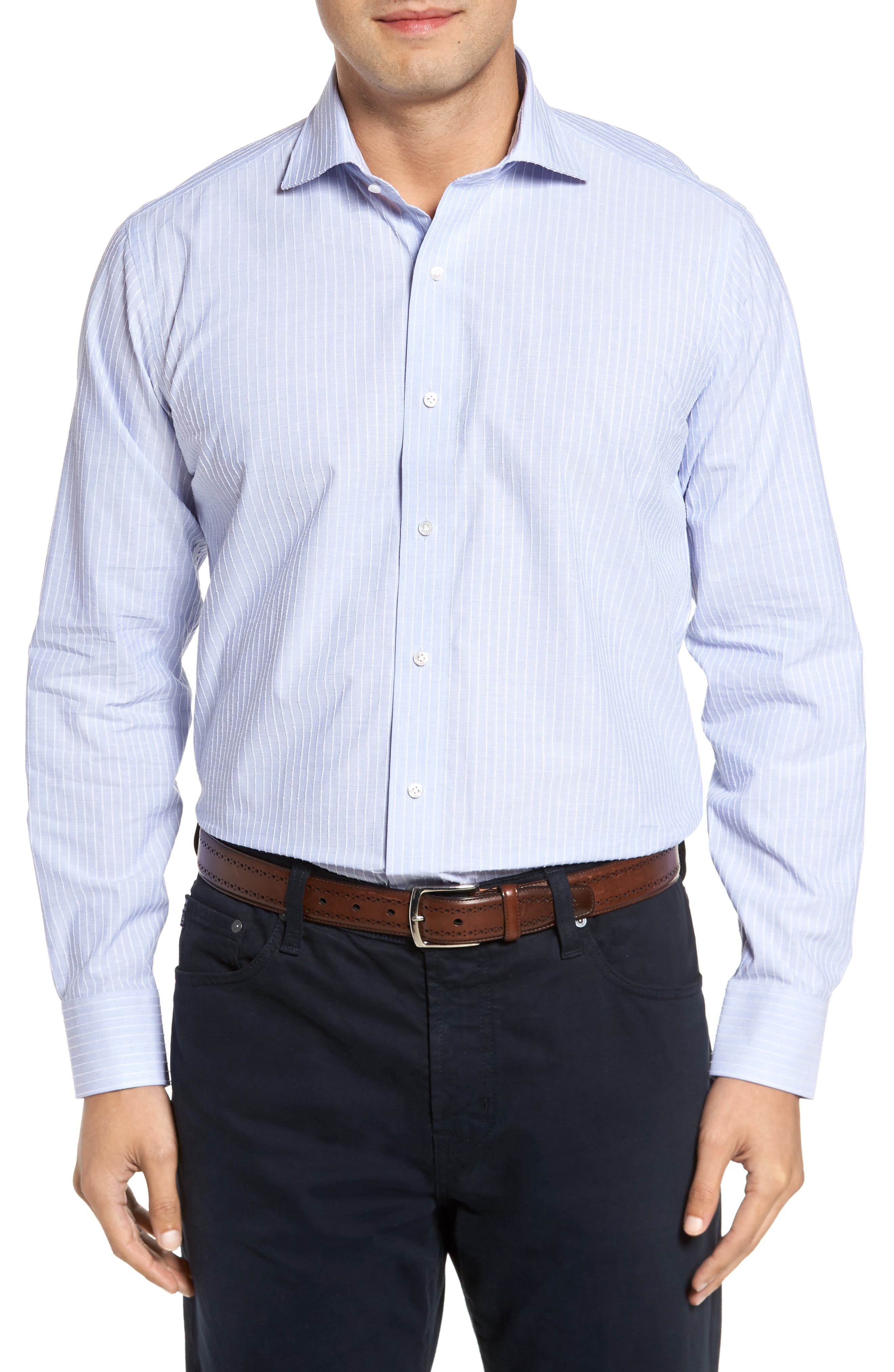 Cejar Stripe Sport Shirt,                         Main,                         color, Blue Ceillo