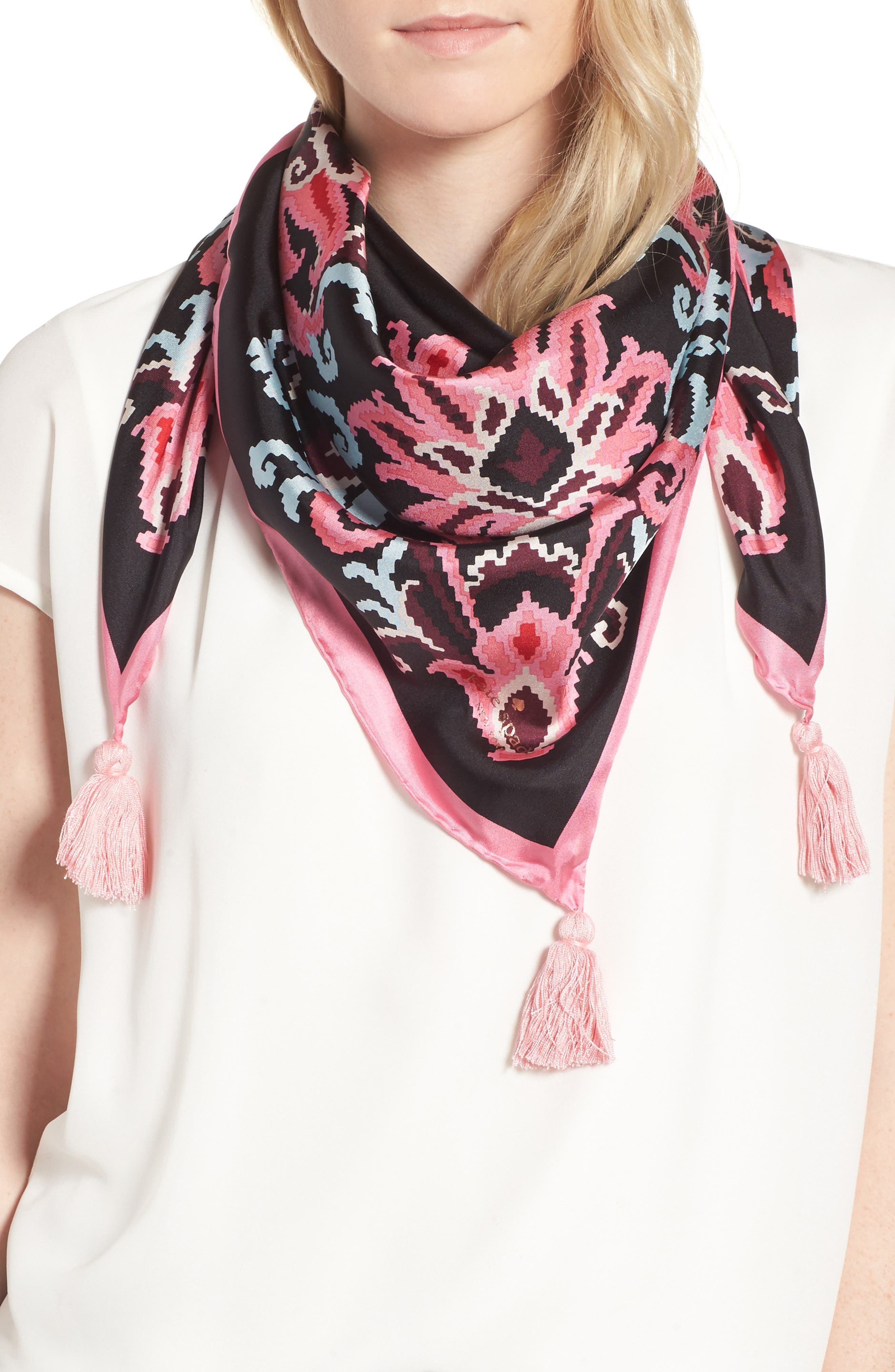 tapestry square silk scarf,                         Main,                         color, Black