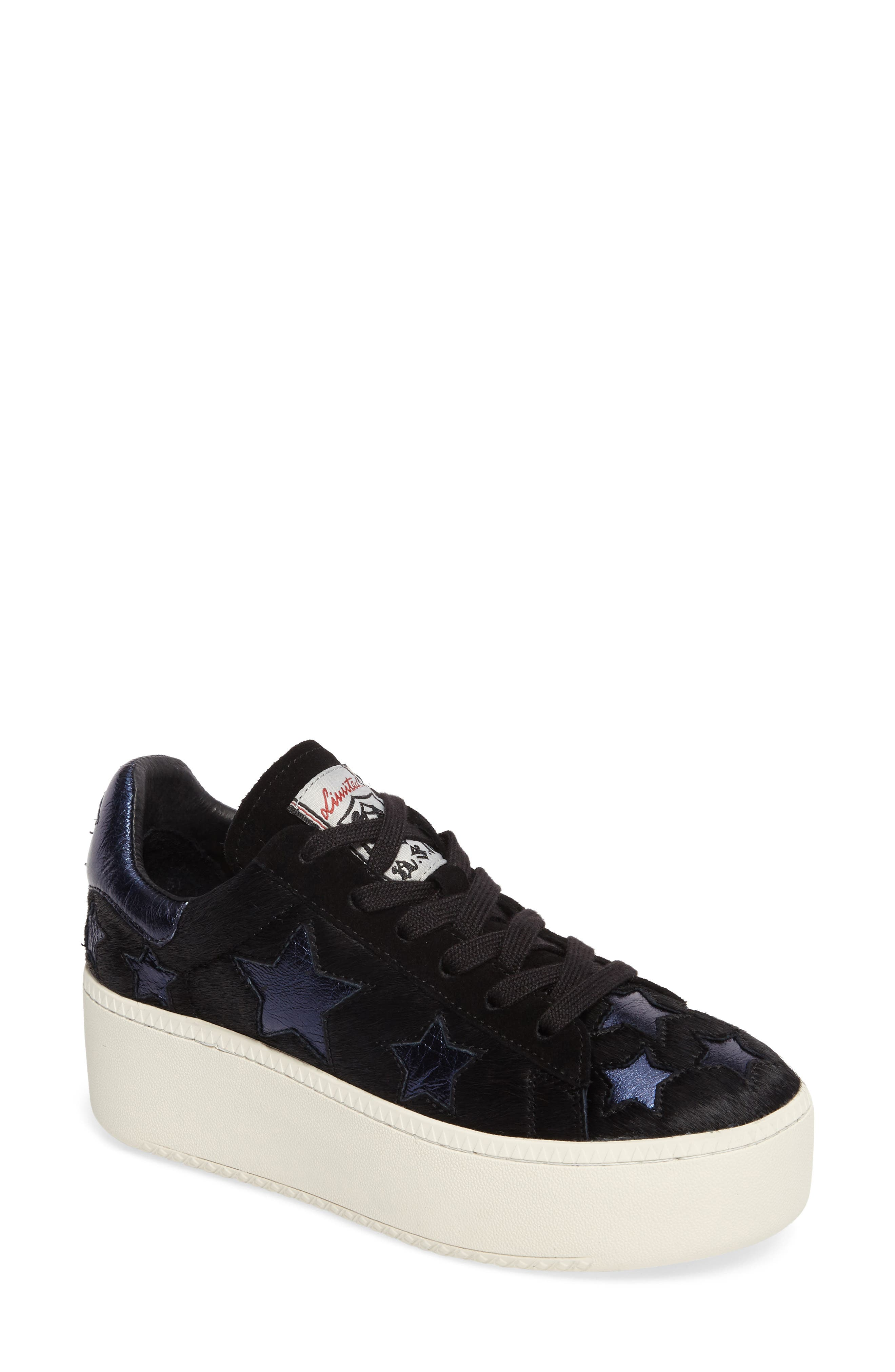 Cult Star Calf Hair Sneaker,                         Main,                         color, Black/ Midnight Leather