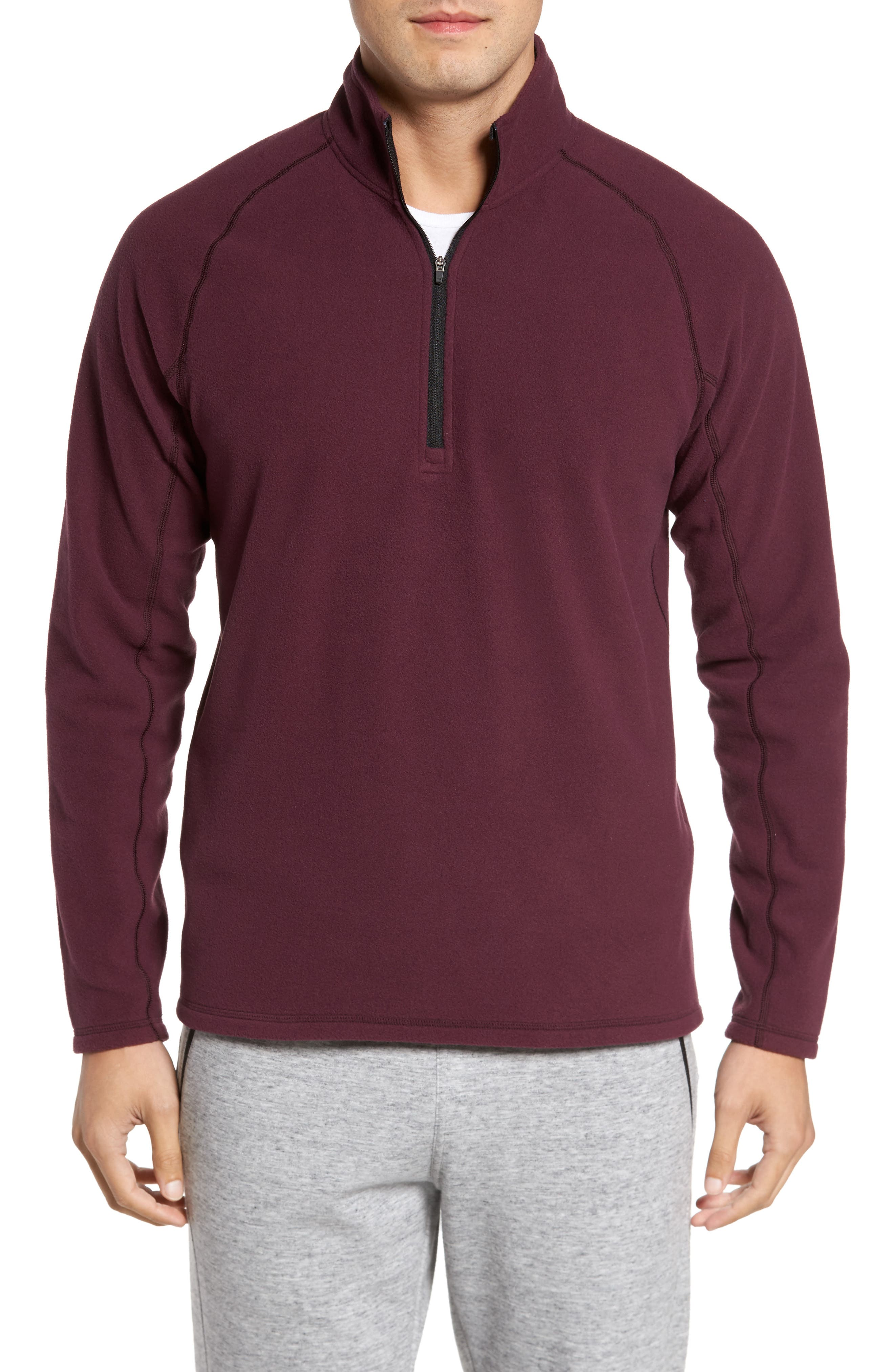 Quarter Zip Fleece Pullover,                         Main,                         color, Burgundy Oxide