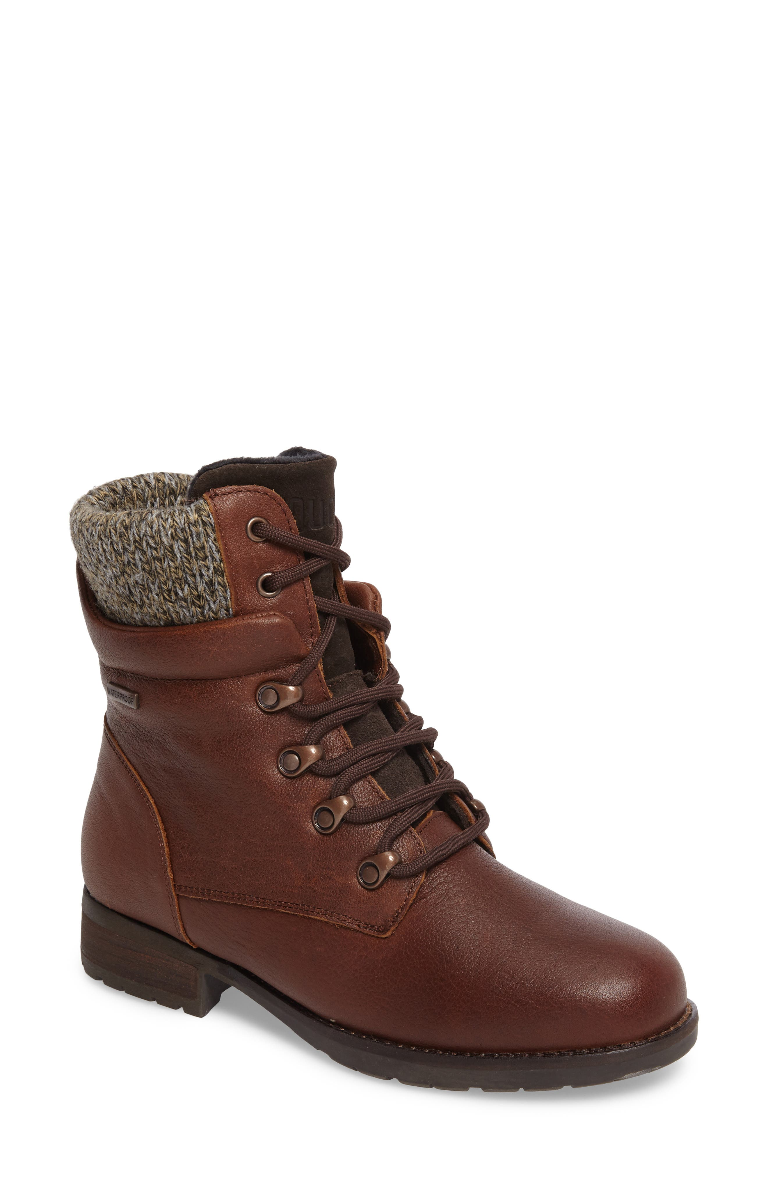 Derry Waterproof Boot,                             Main thumbnail 1, color,                             Dark Brown Leather