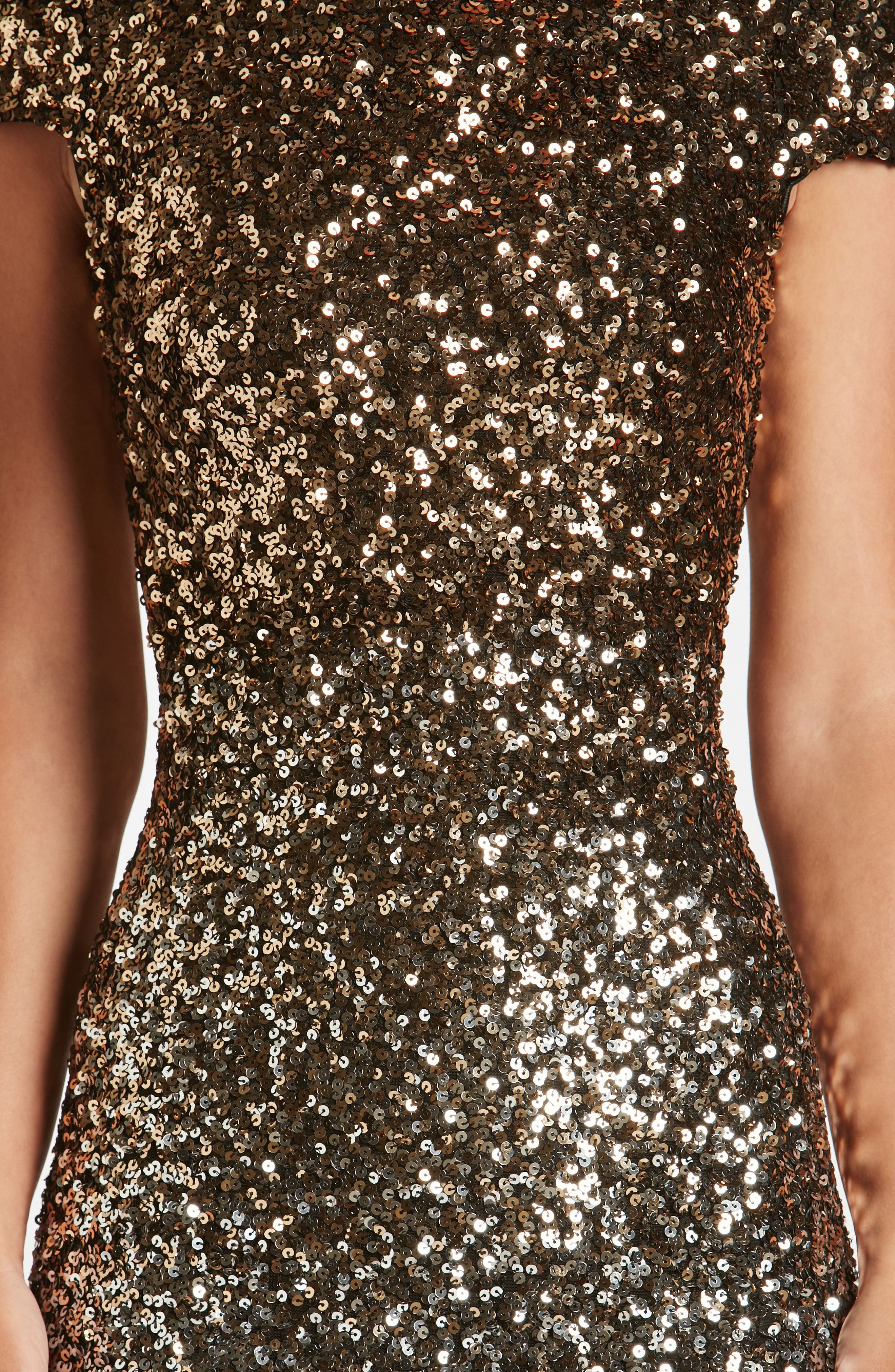 Marcella Ombré Sequin Body-Con Dress,                             Alternate thumbnail 4, color,                             Silver/ Gold