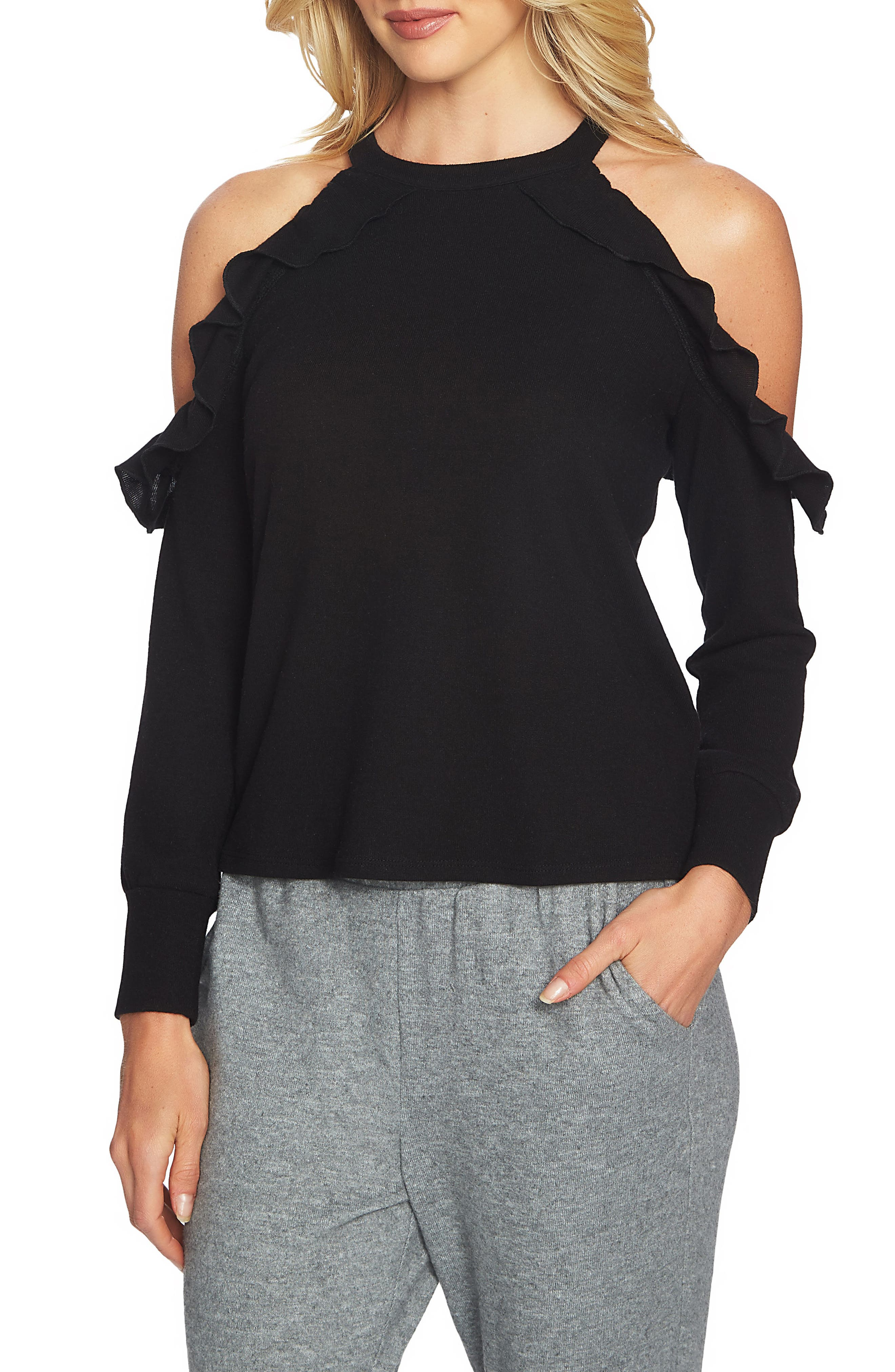 Main Image - 1.STATE The Cozy Cold Shoulder Knit Top