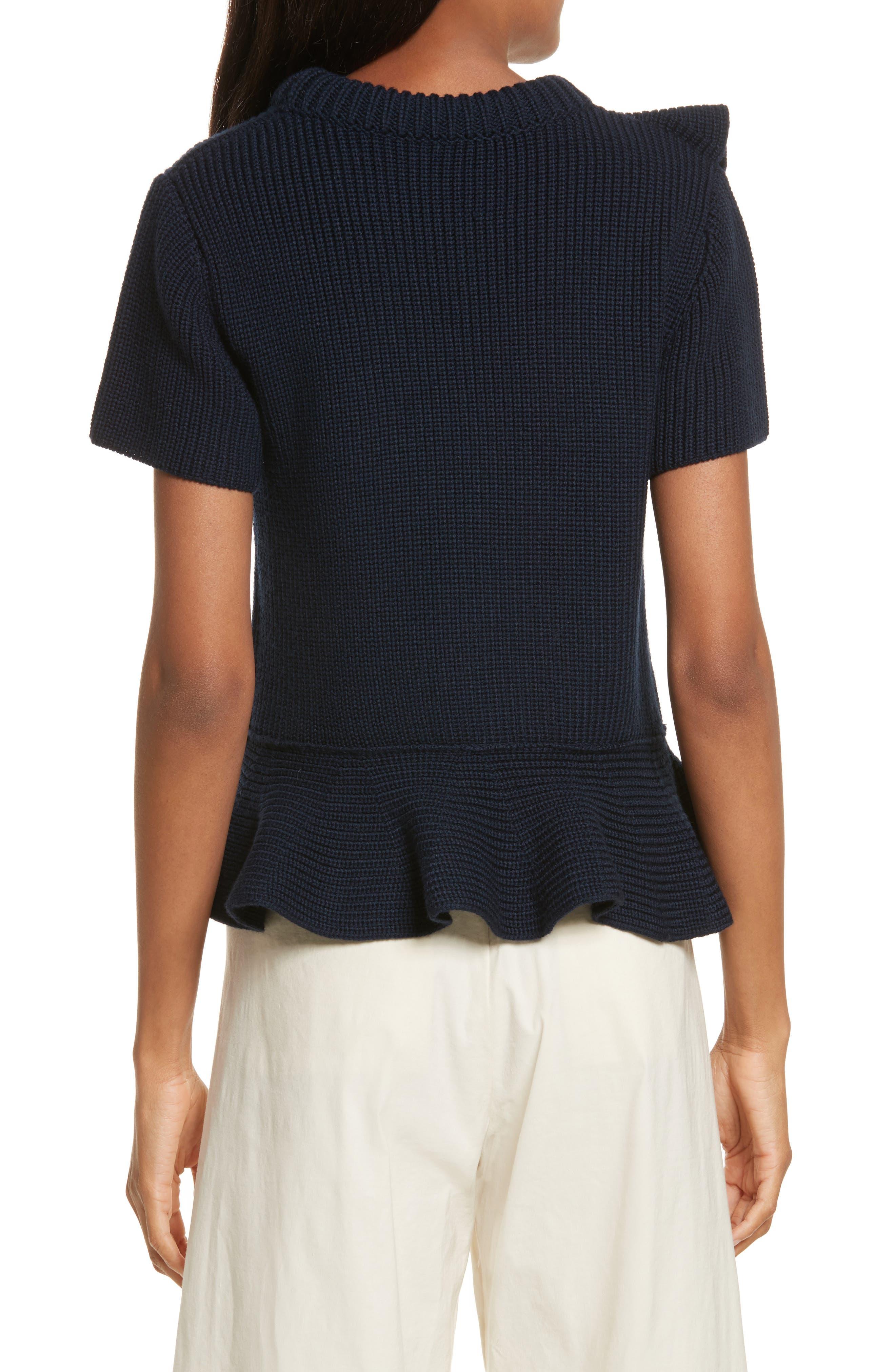 Ruffle Wool Sweater,                             Alternate thumbnail 2, color,                             Navy
