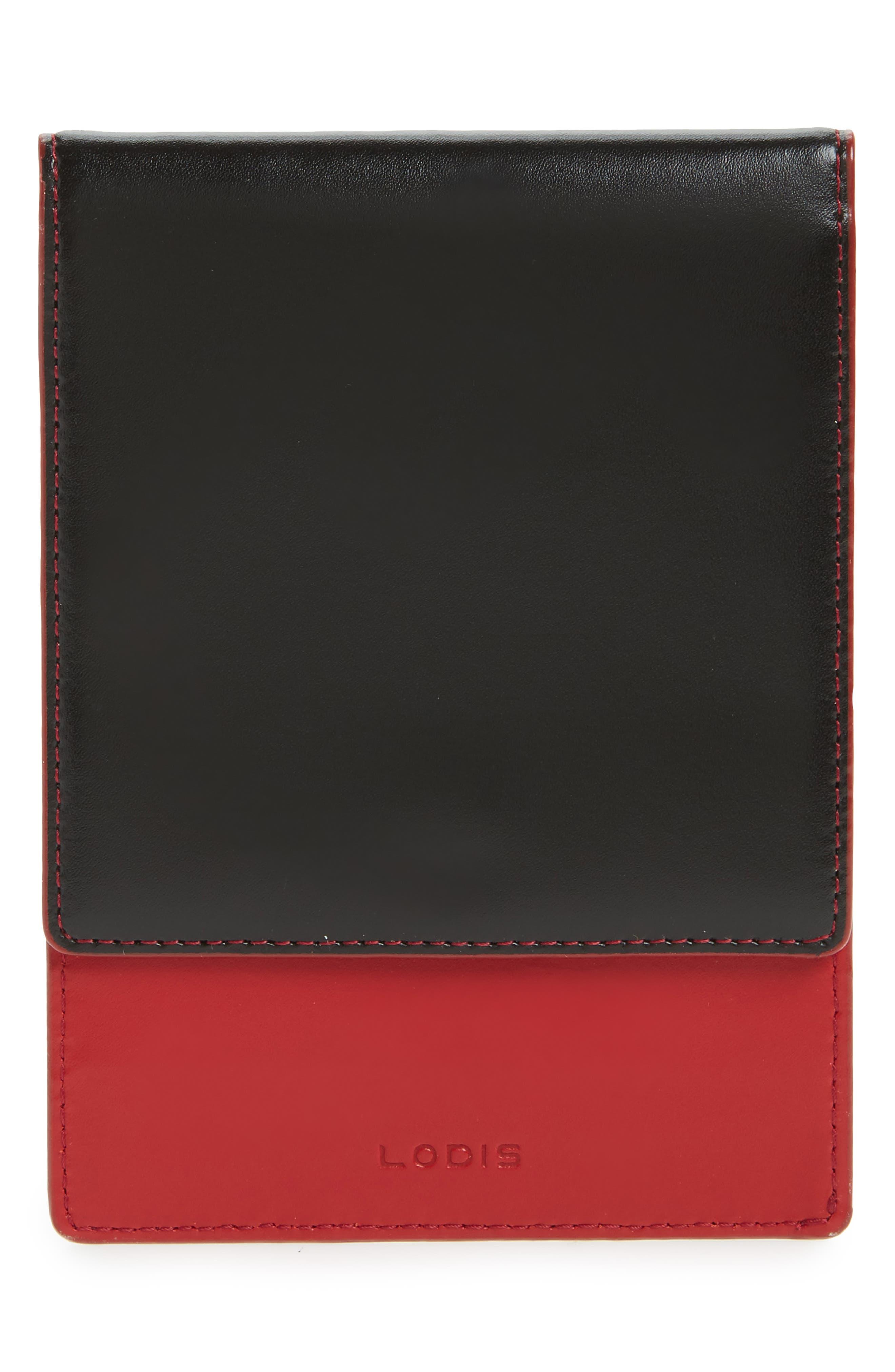 LODIS Audrey Under Lock & Key Skyler Leather Passport Wallet,                         Main,                         color, Black