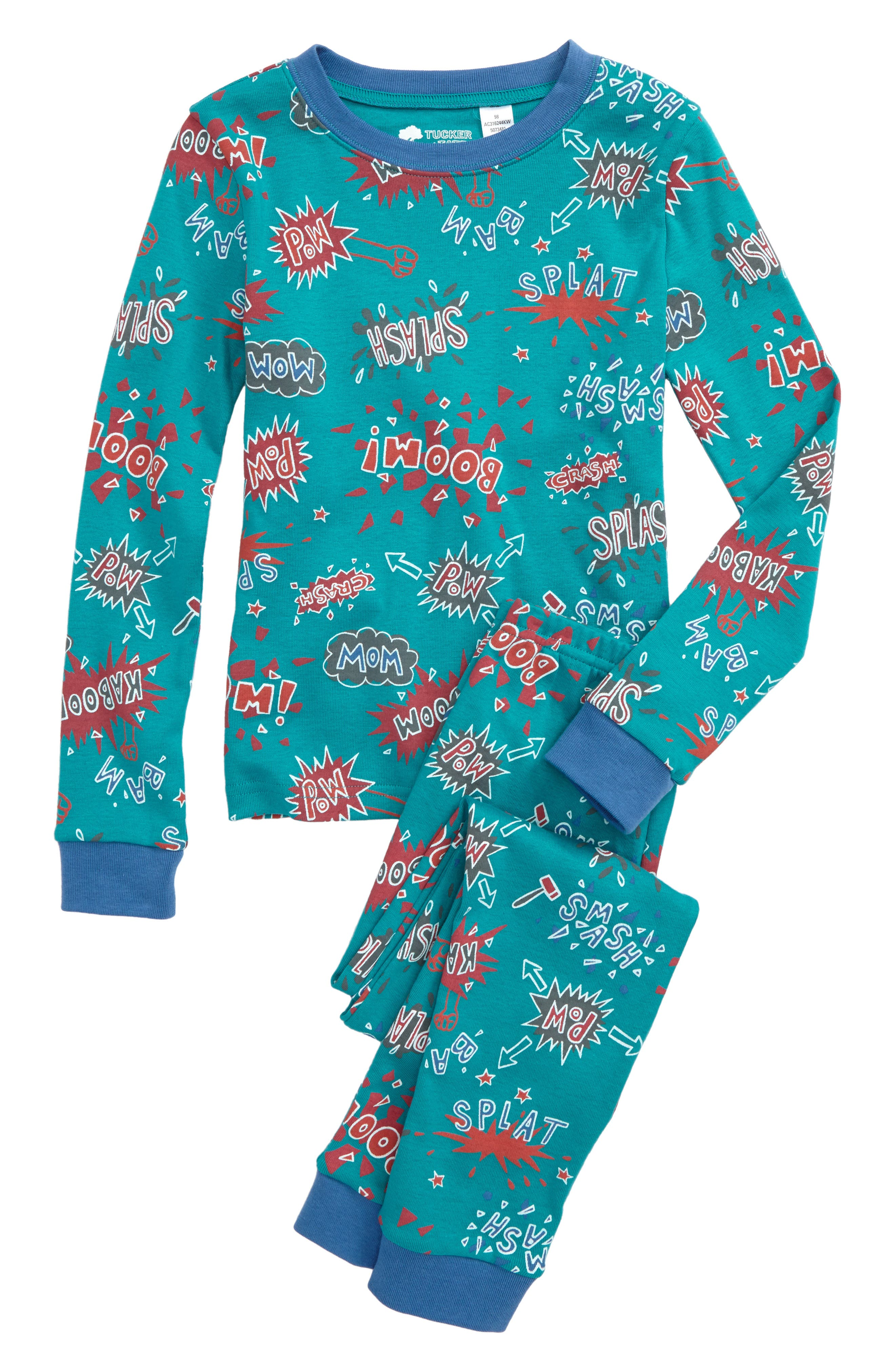 Fitted Two-Piece Pajamas,                         Main,                         color, Blue Tile Comic