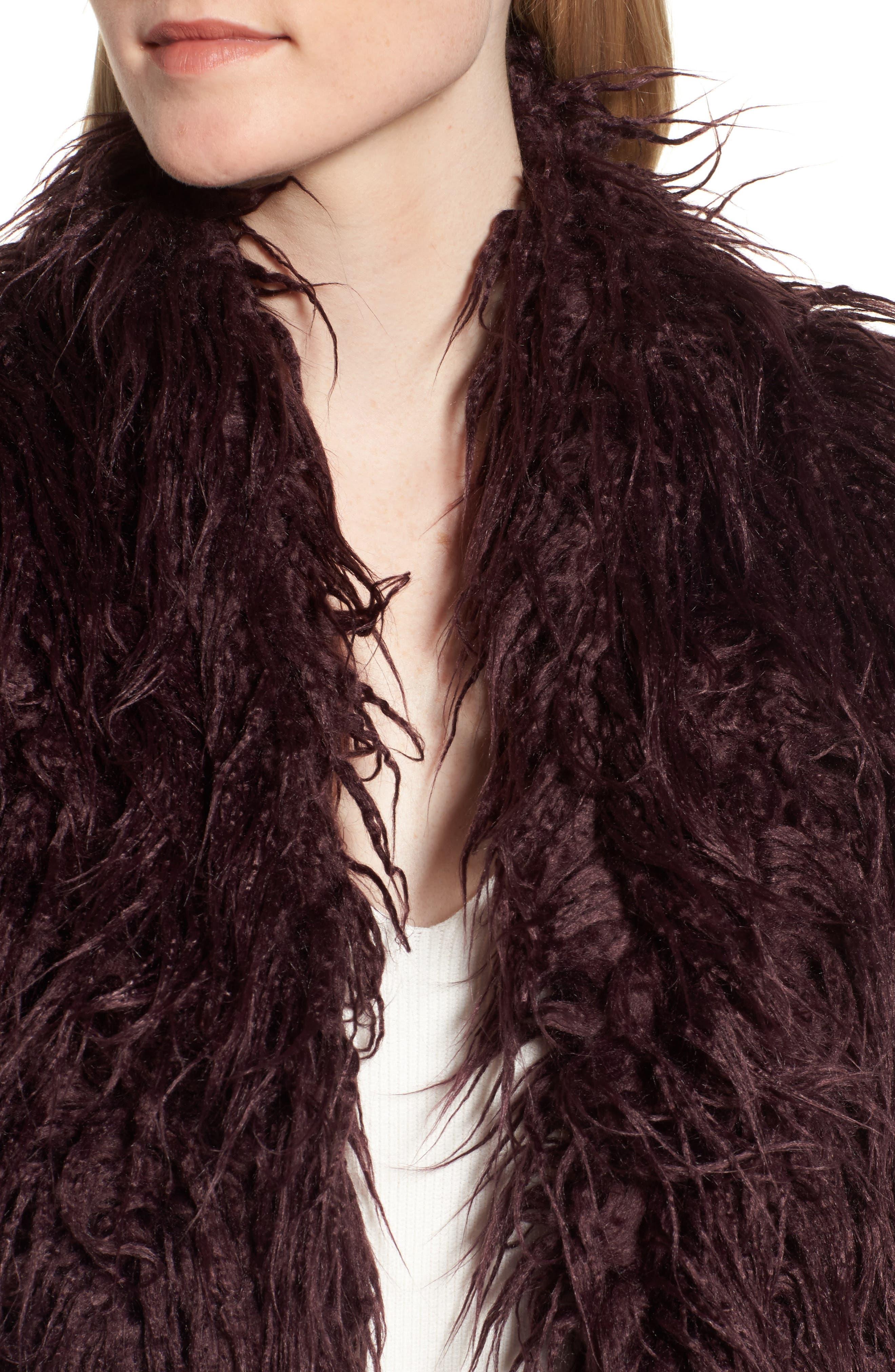 Shaggy Faux Fur Jacket,                             Alternate thumbnail 4, color,                             Burgundy Stem