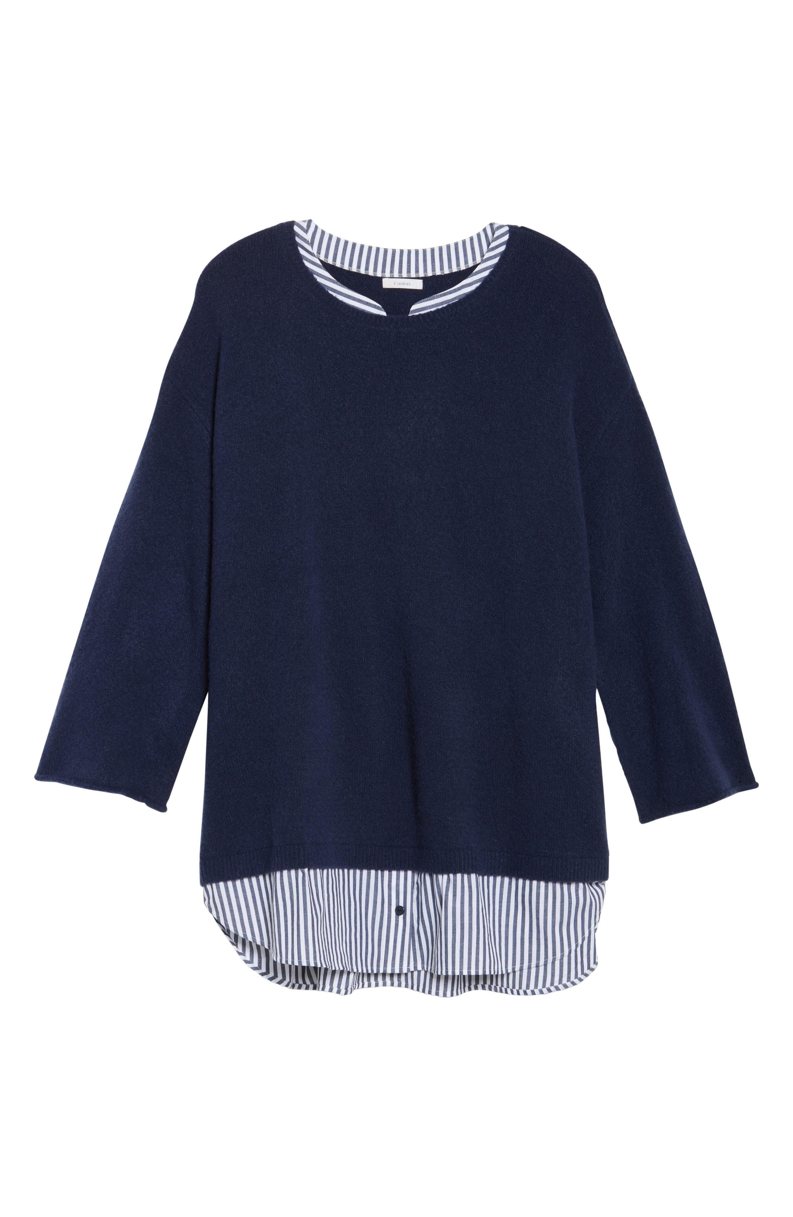 Cozy Layered Sweater,                             Alternate thumbnail 6, color,                             Navy Peacoat