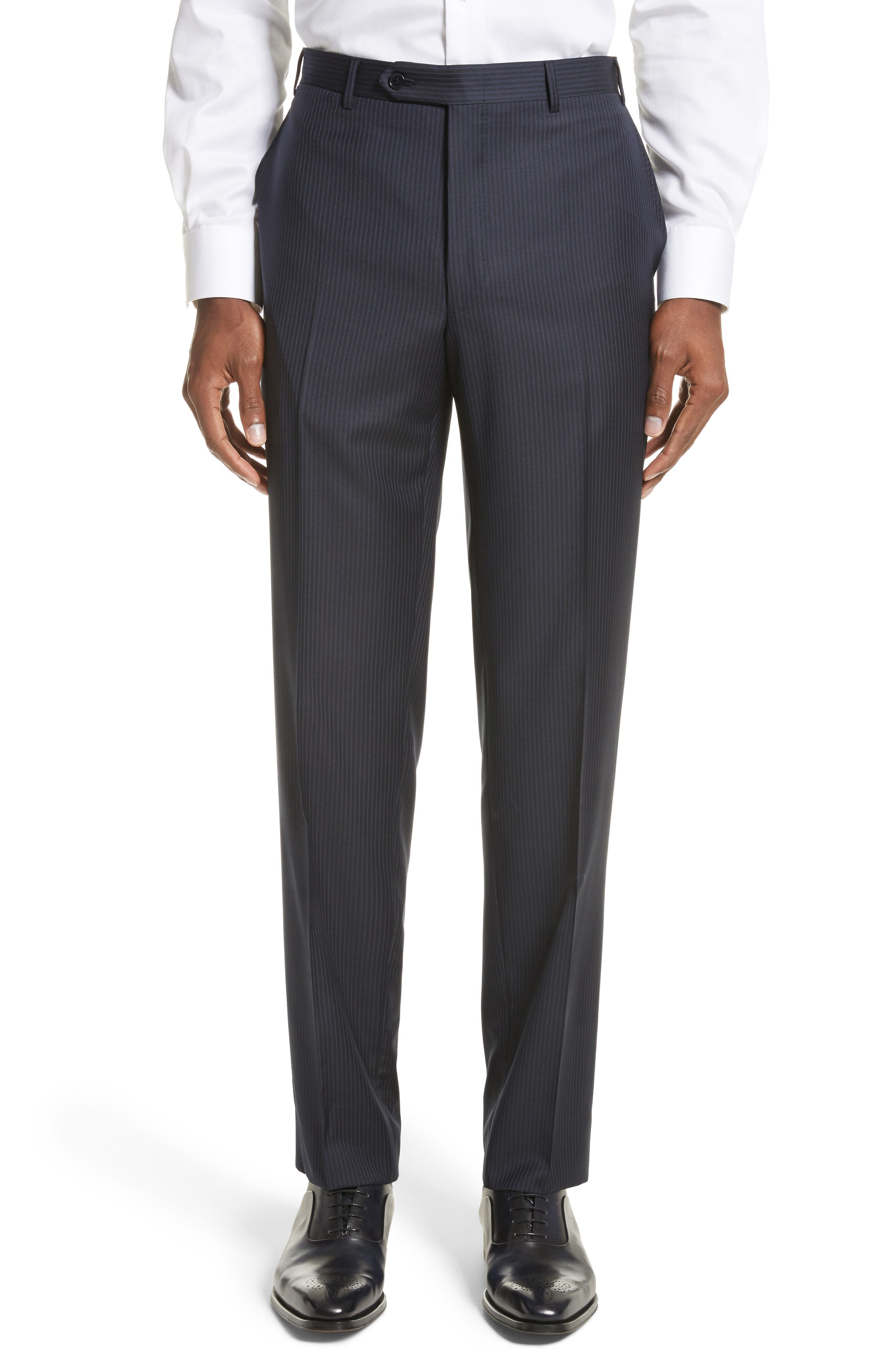 Classic Fit Stripe Wool Suit,                             Alternate thumbnail 6, color,                             Navy