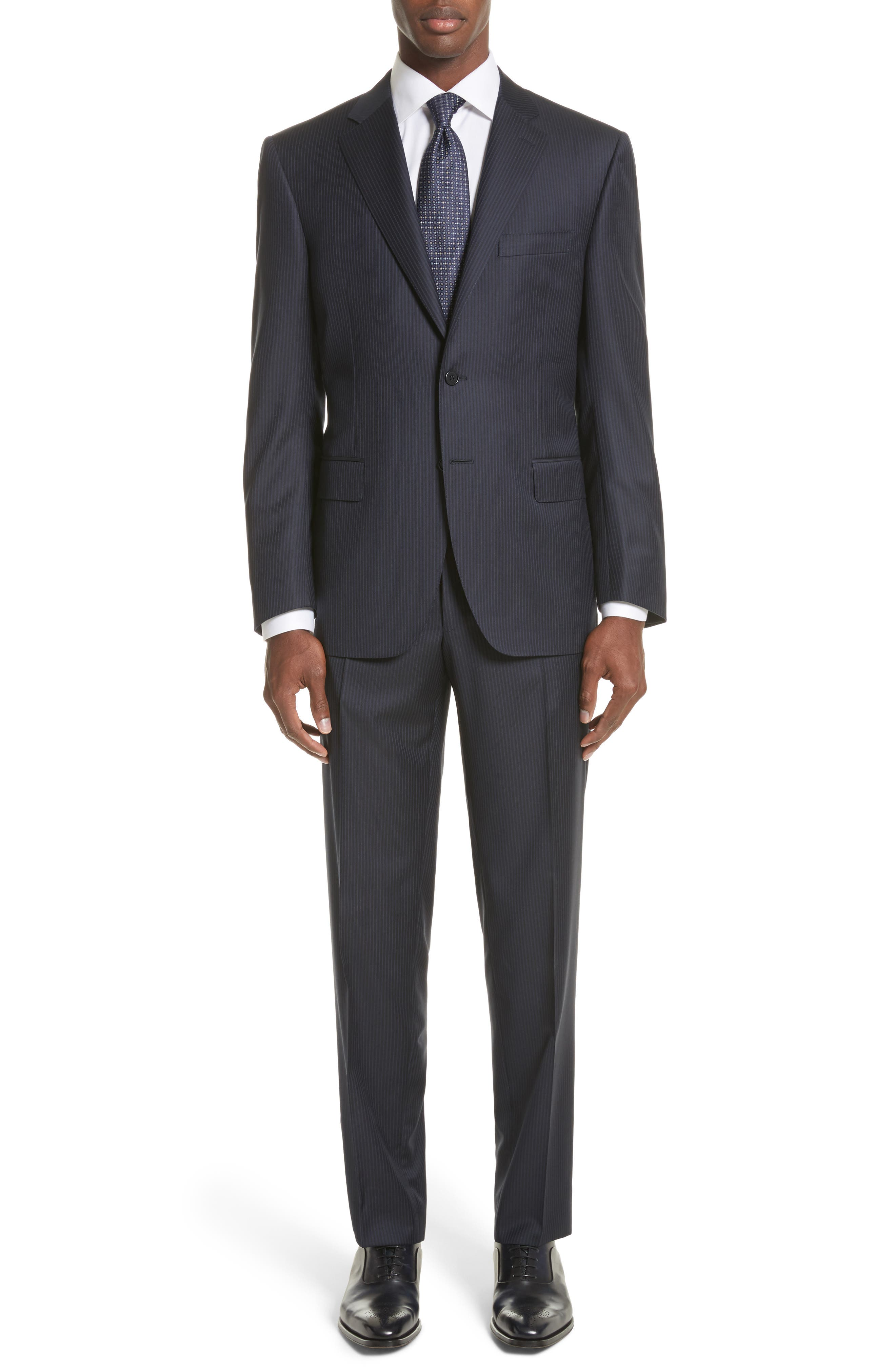 Classic Fit Stripe Wool Suit,                             Main thumbnail 1, color,                             Navy