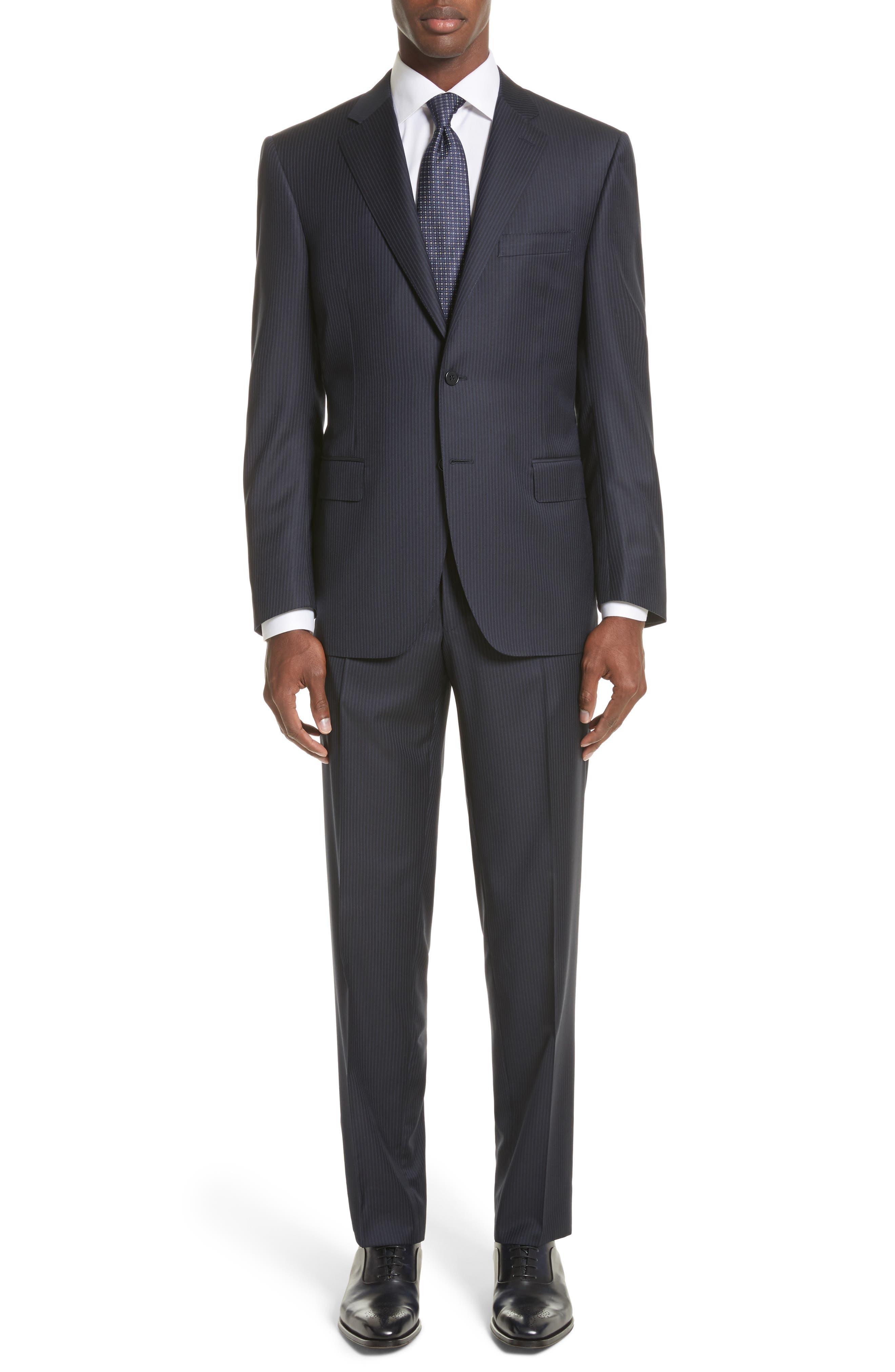 Classic Fit Stripe Wool Suit,                         Main,                         color, Navy