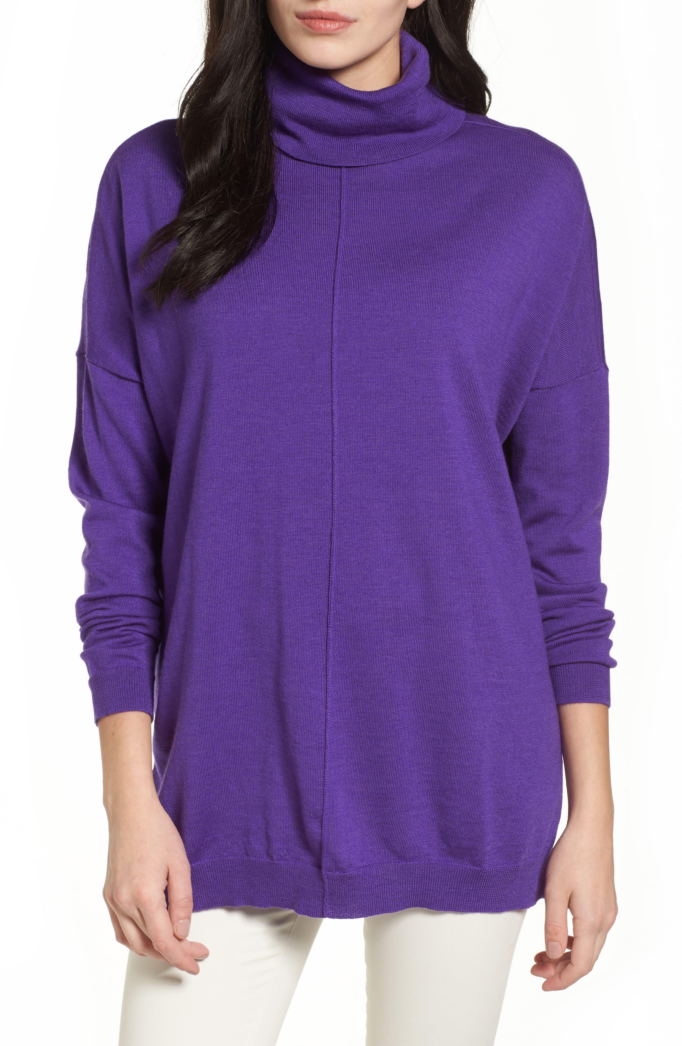 Eileen Fisher Merino Wool Boxy Turtleneck Sweater (Regular & Petite)