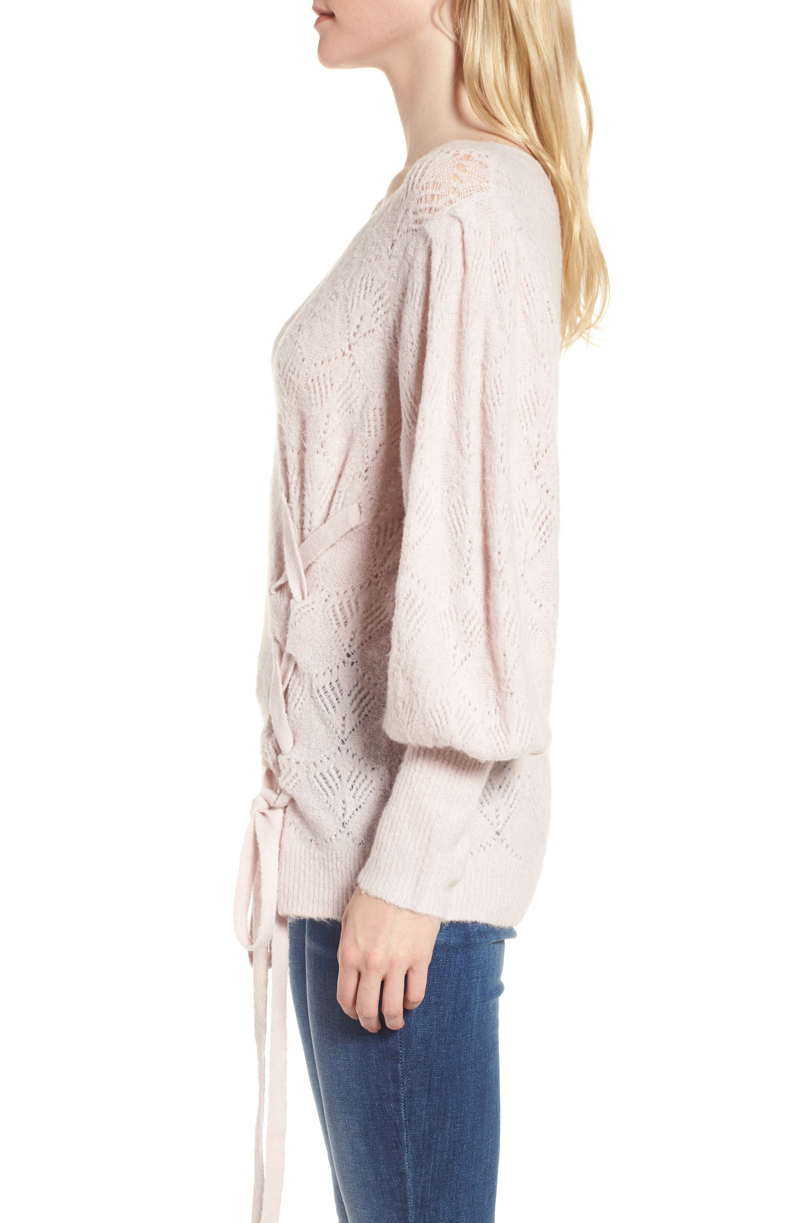 Tied Pointelle Knit Sweater,                             Alternate thumbnail 4, color,                             Pink Hush