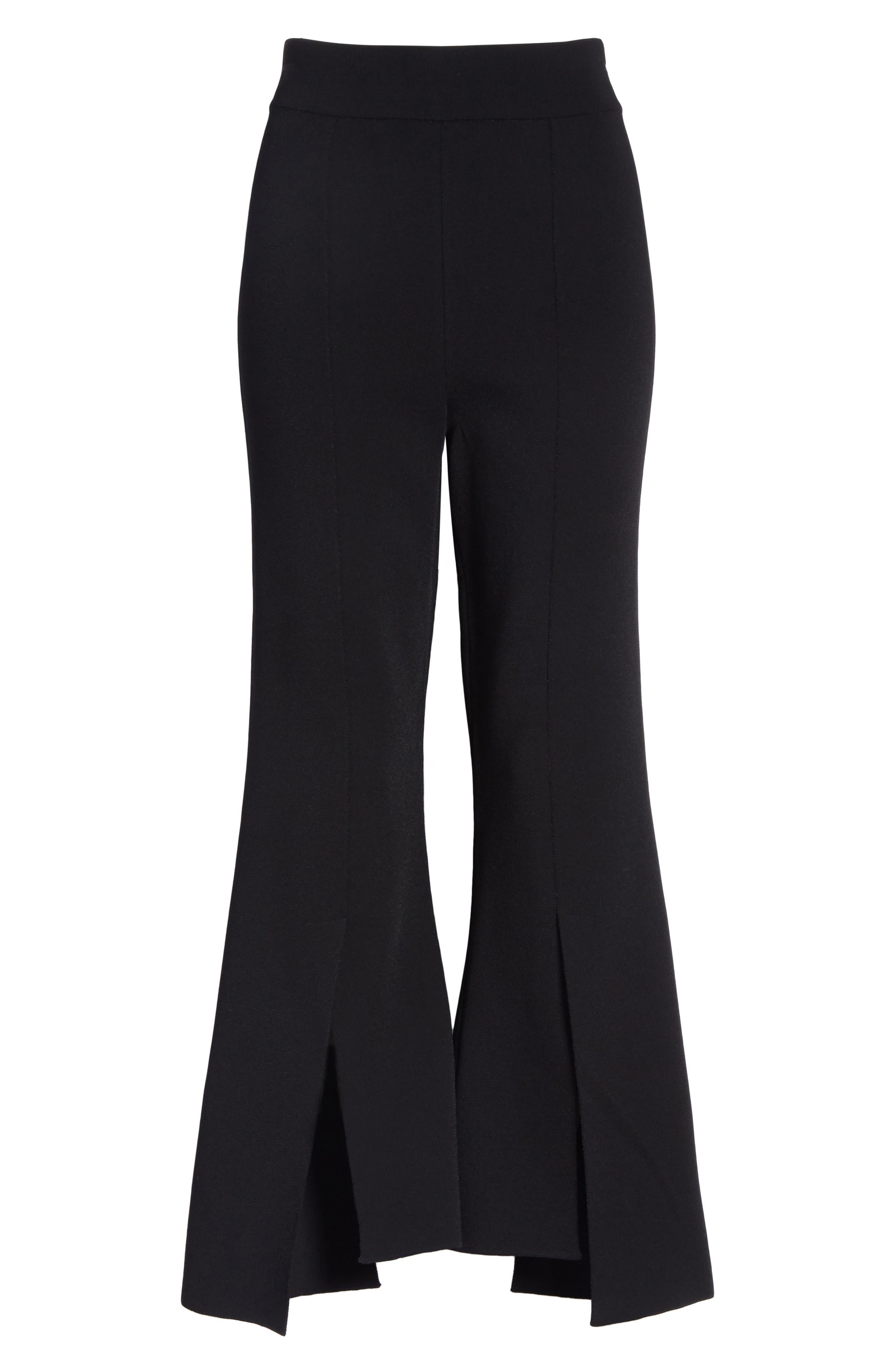 Compact Knit Crop Flare Pants,                             Alternate thumbnail 6, color,                             Black