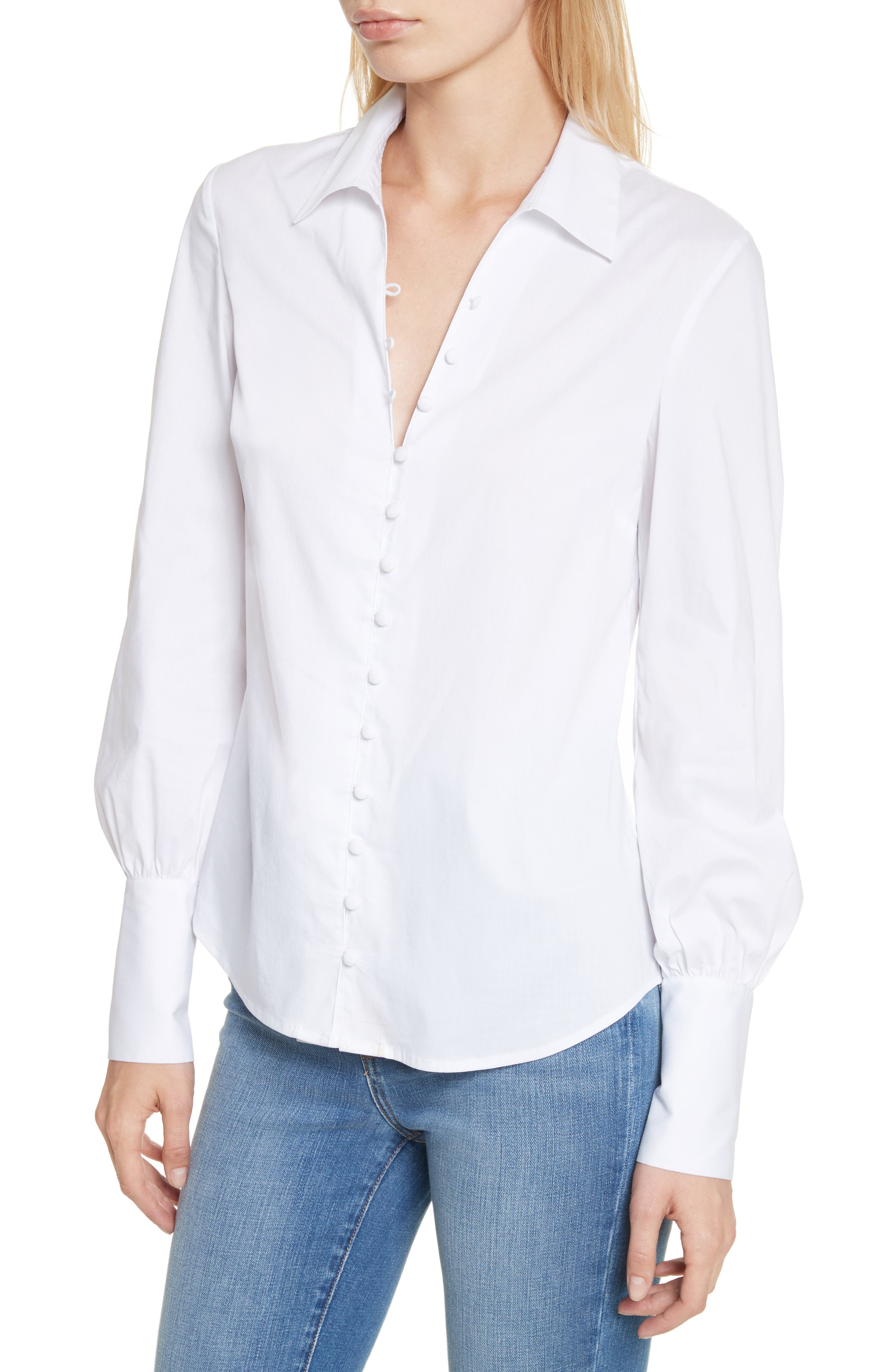 Puff Sleeve Shirt,                             Alternate thumbnail 3, color,                             White