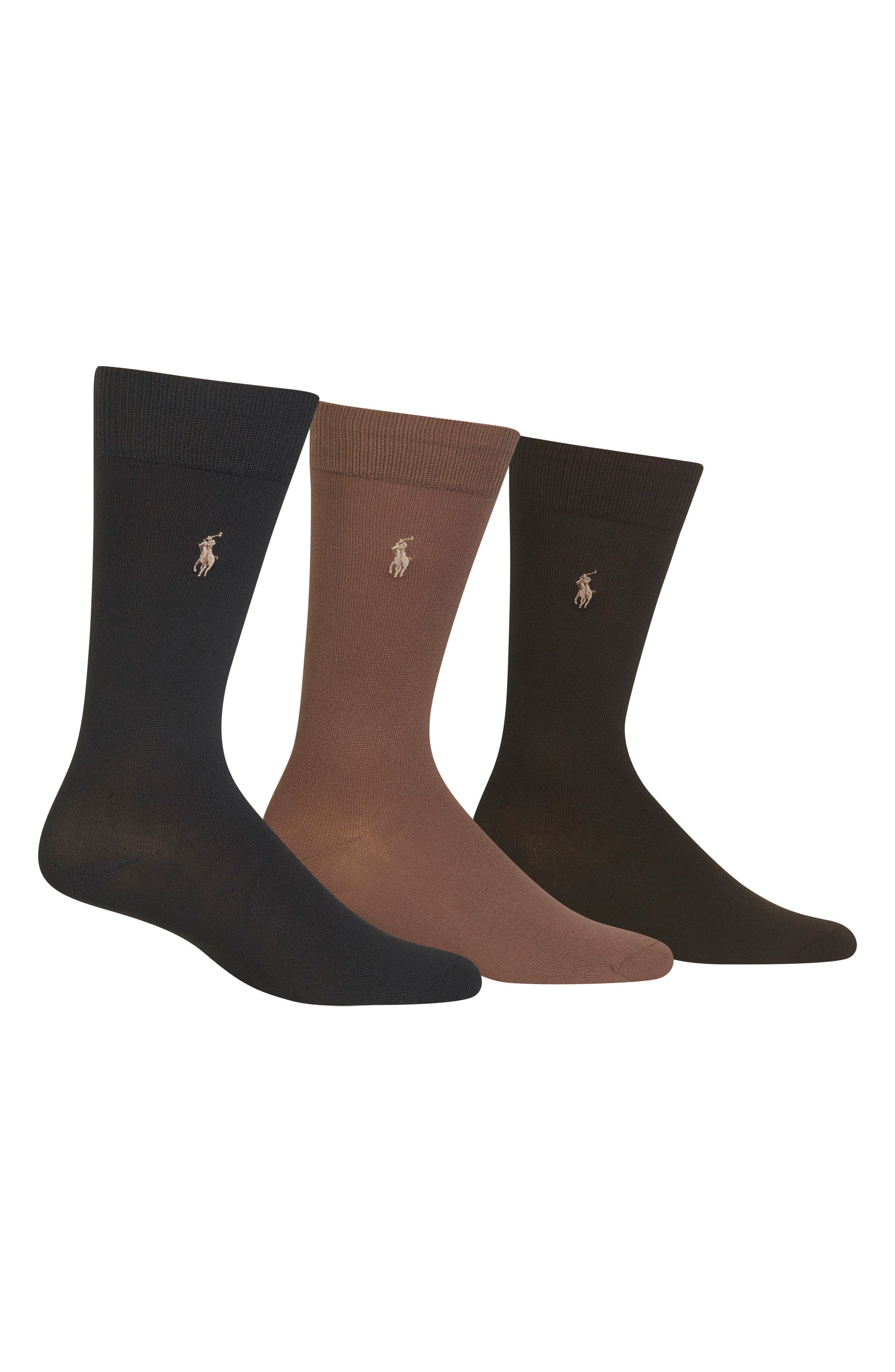 Assorted 3-Pack Supersoft Socks,                             Main thumbnail 1, color,                             Dark Olive/ Tobacco/ Brown