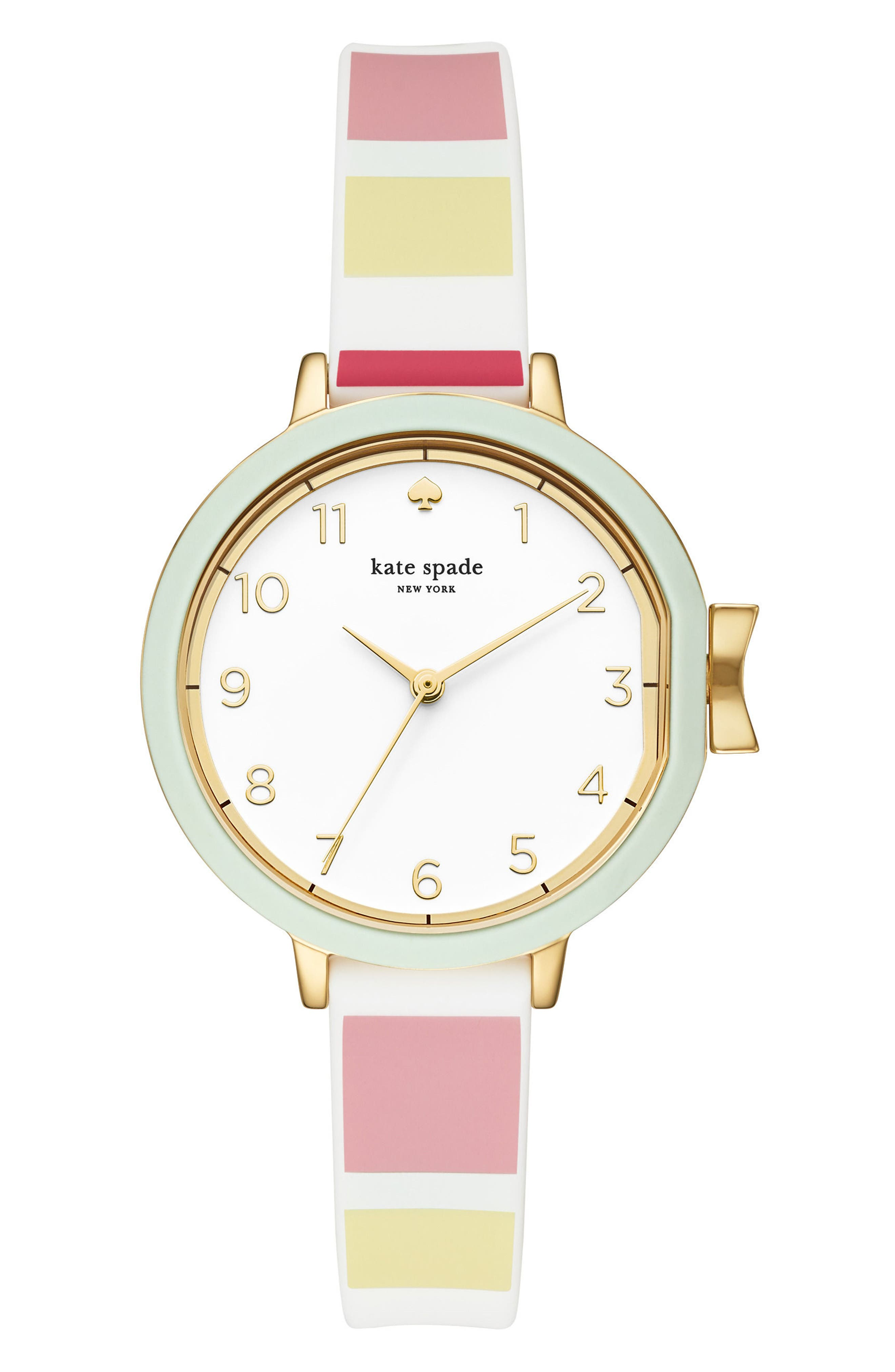 park row silicone strap watch, 34mm,                         Main,                         color, Multi/ White/ Gold