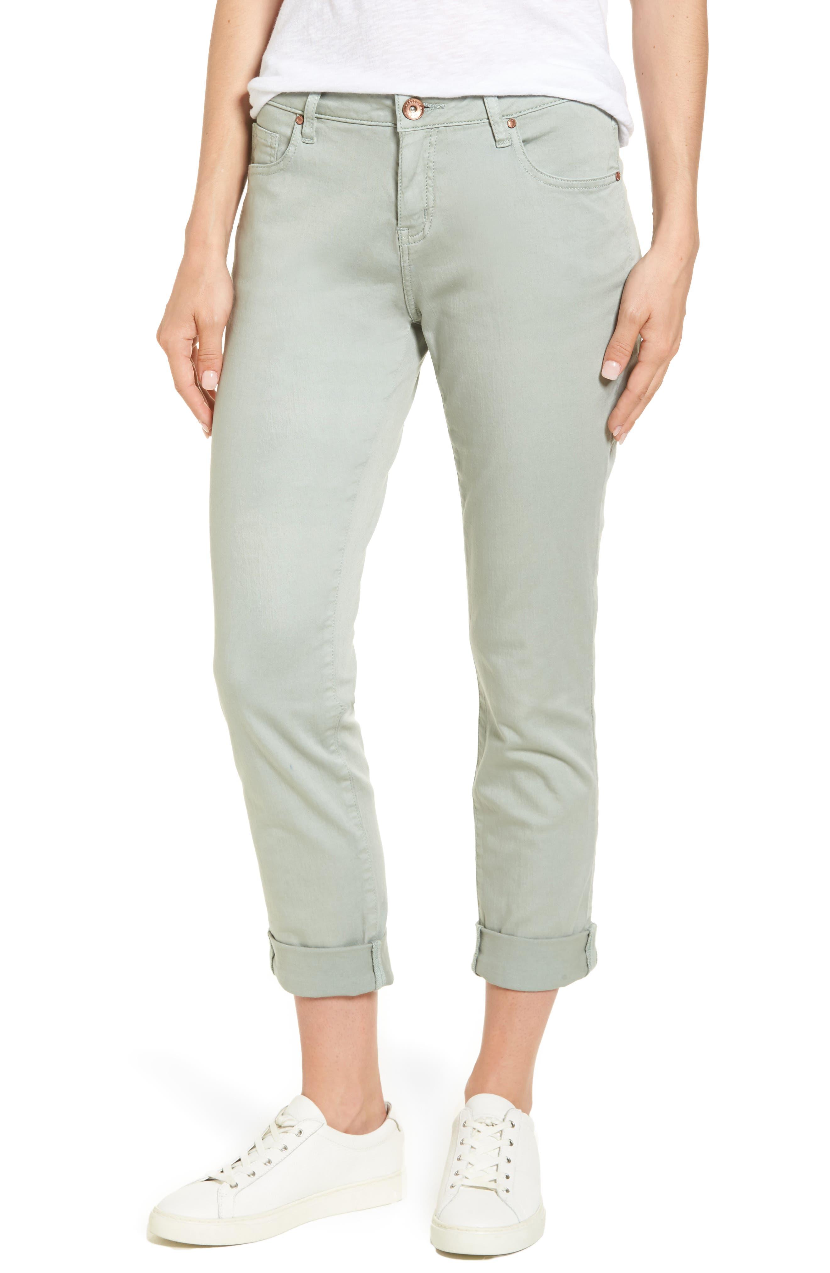 Carter Knit Denim Girlfriend Jeans,                             Main thumbnail 1, color,                             Beach Glass