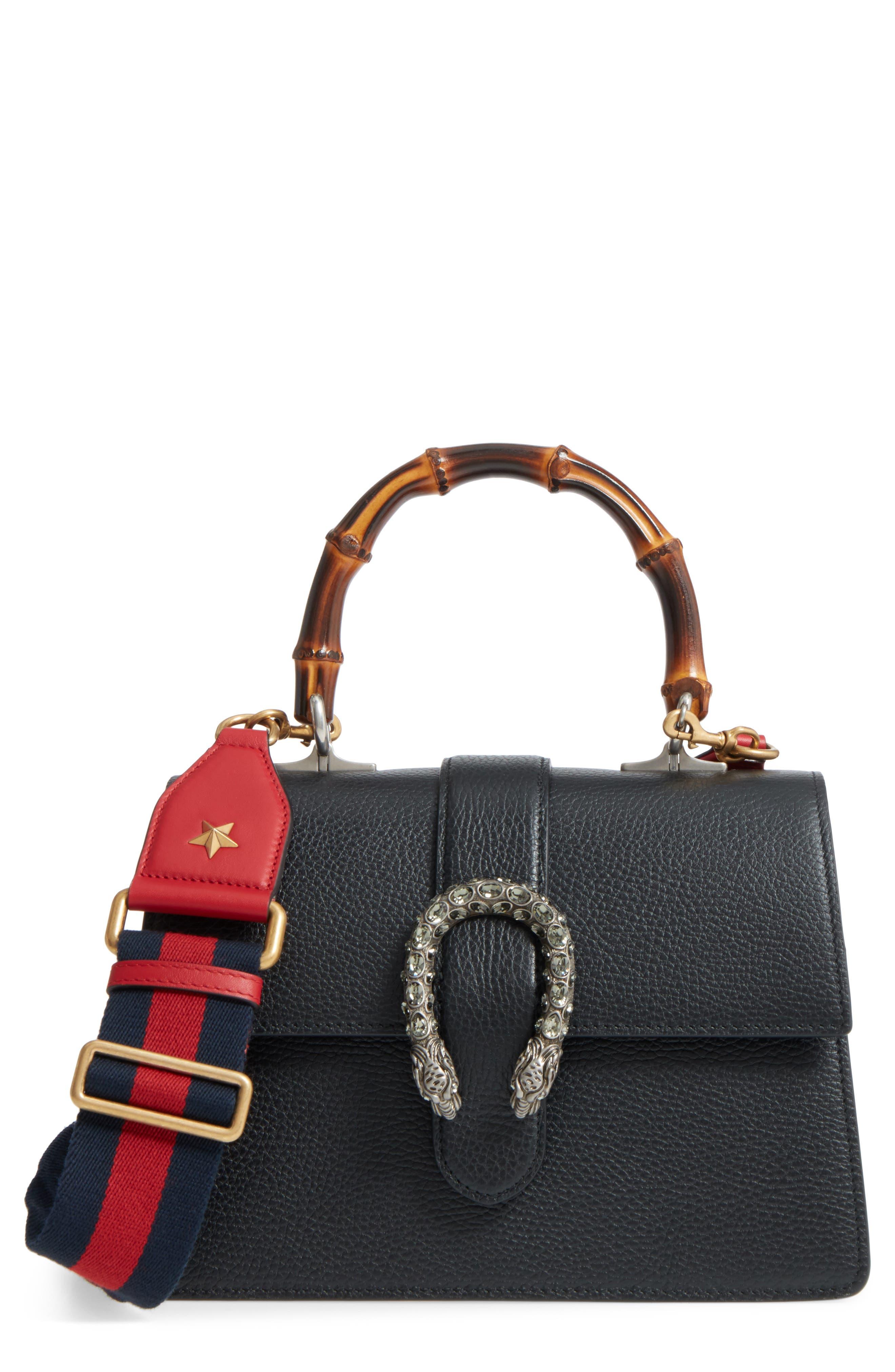 Medium Dionysus Leather Top Handle Satchel,                         Main,                         color, Nero/ Vrv/ Black Diamond