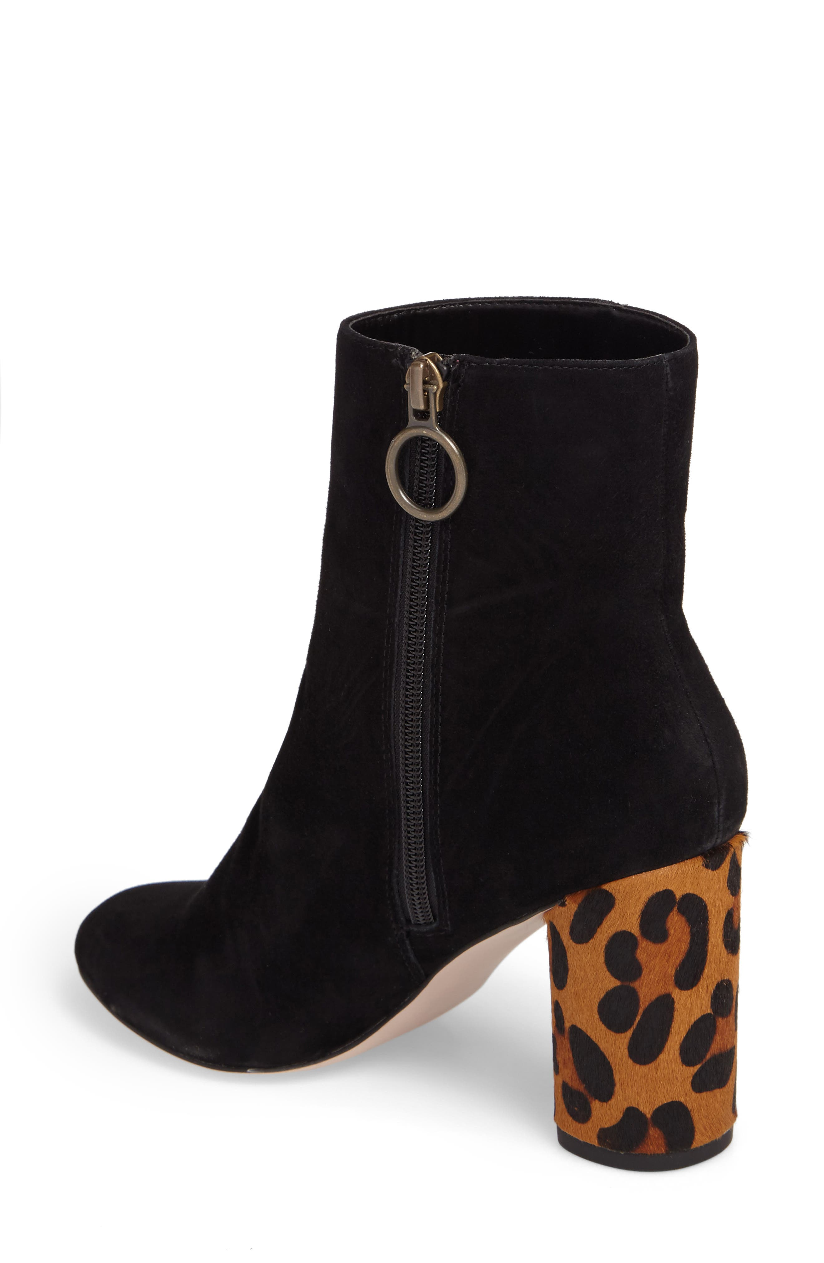 Mulholland Embroidered Boot,                             Alternate thumbnail 2, color,                             Black With Leopard Heel