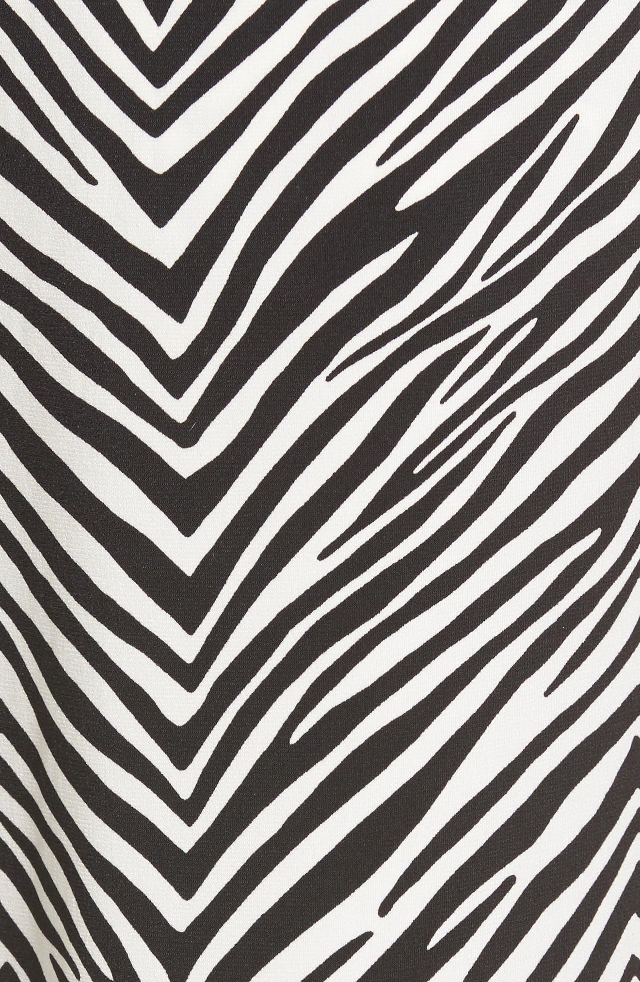 Zebra Print Drawstring Waist Pants,                             Alternate thumbnail 5, color,                             Rich Black