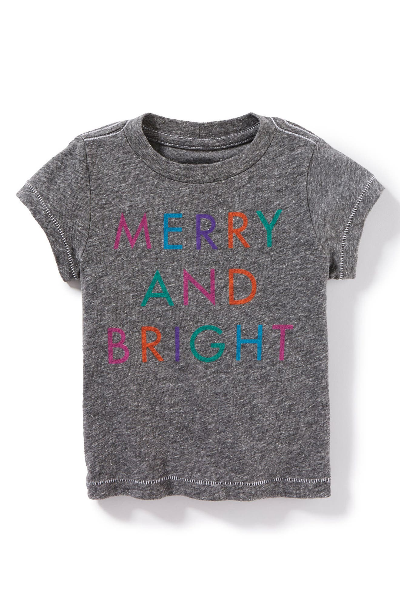 Merry And Bright Tee,                             Main thumbnail 1, color,                             Heather Grey