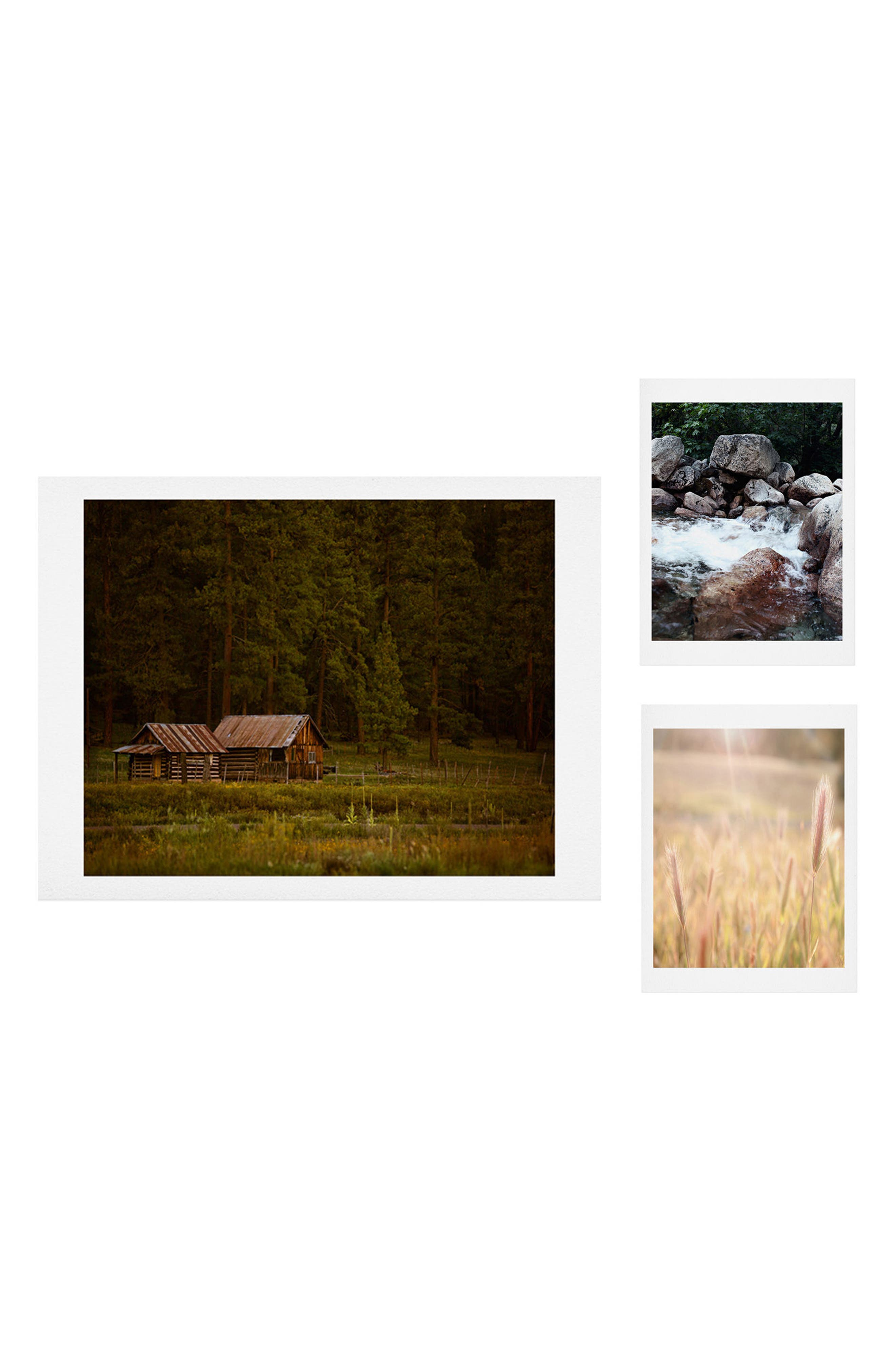Waves Peaceful Ranch Gallery Wall Art Print Set,                             Main thumbnail 1, color,                             Brown/ Green