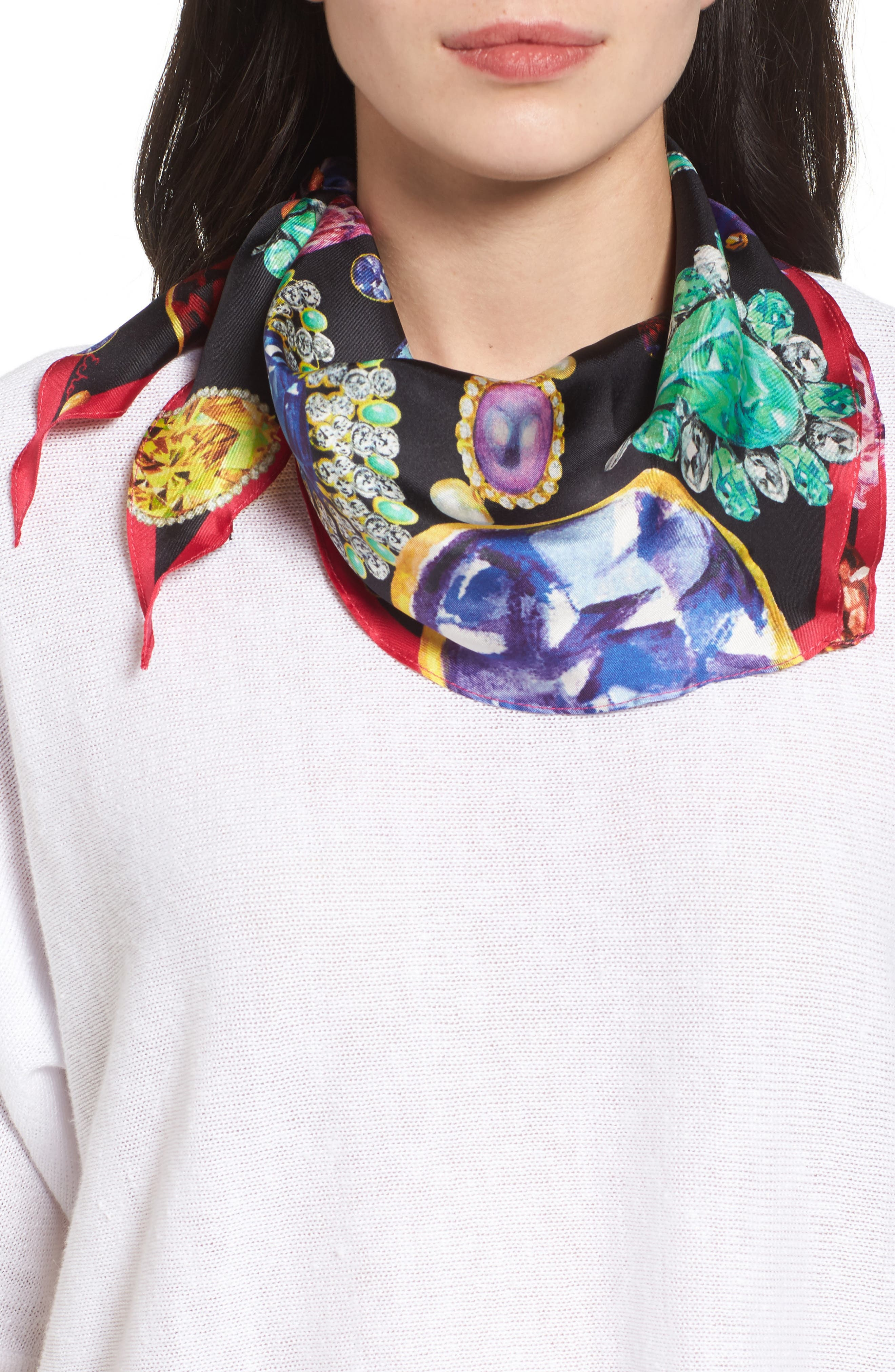 Bejeweled Diamond Silk Scarf,                             Main thumbnail 1, color,                             Multi