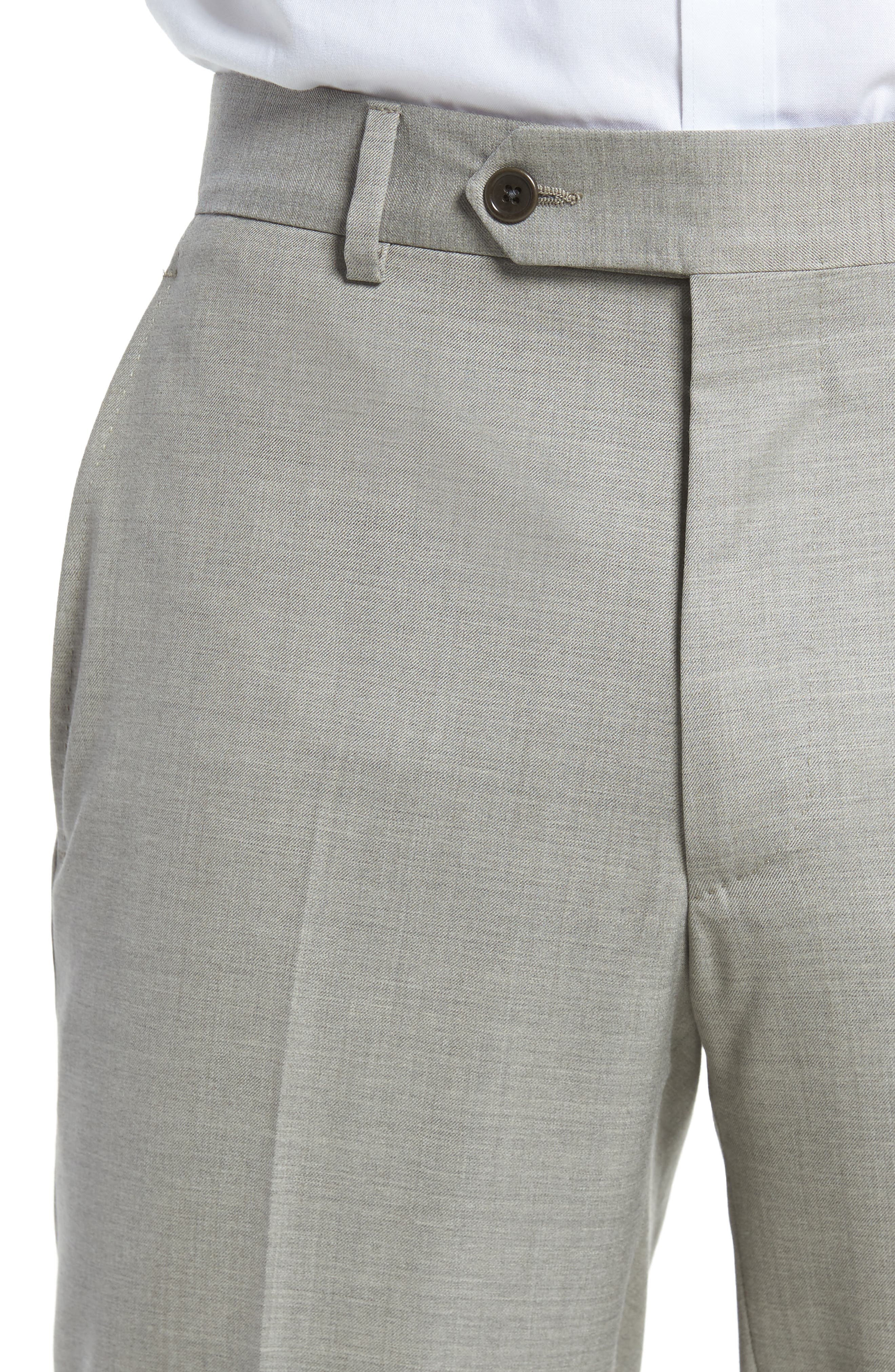 Peter Millar Multi Season Super 150s Wool Flat Front Trousers,                             Alternate thumbnail 4, color,                             Sabbia