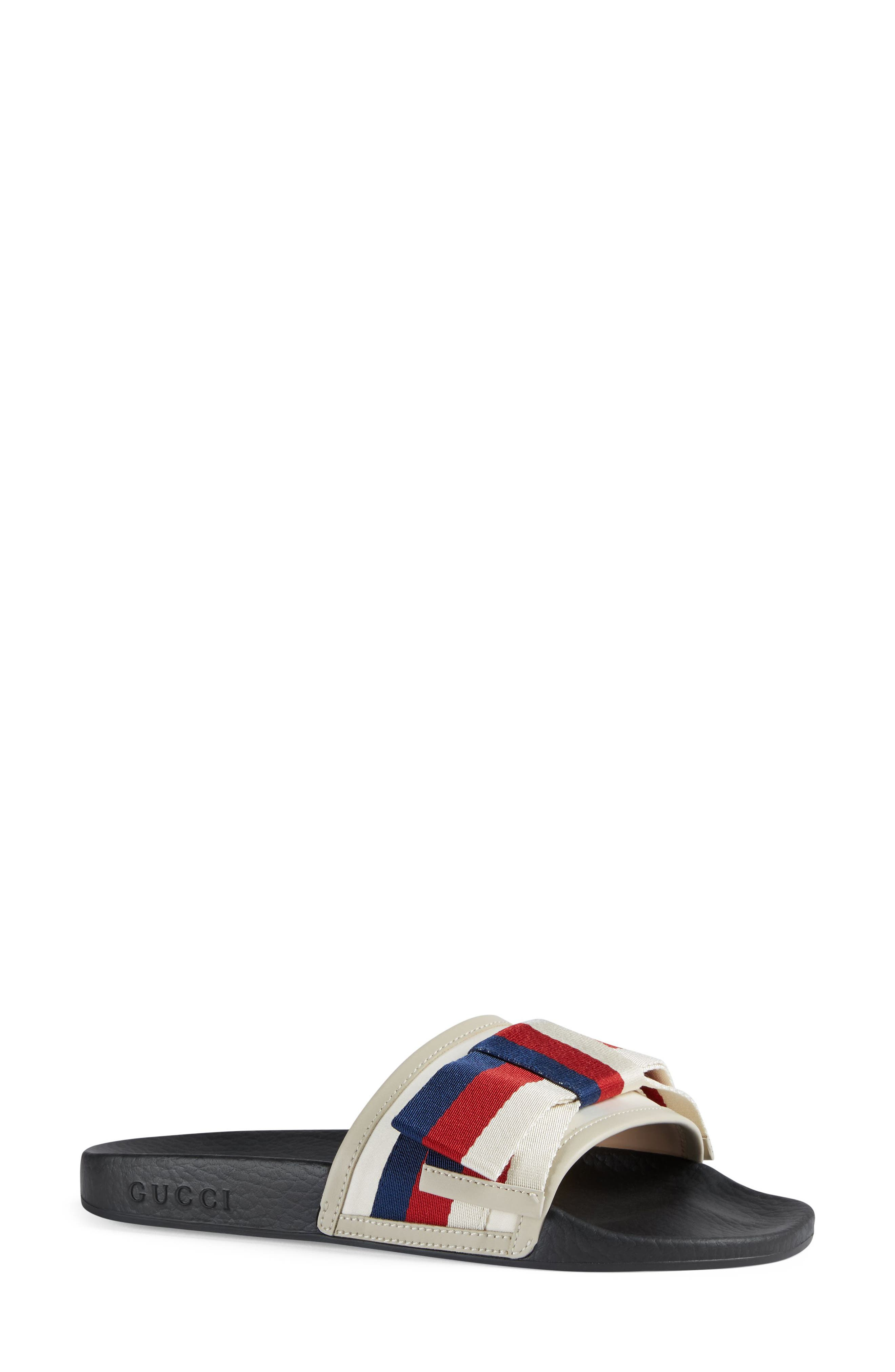 Pursuit Bow Slide Sandal,                             Main thumbnail 1, color,                             Ivory