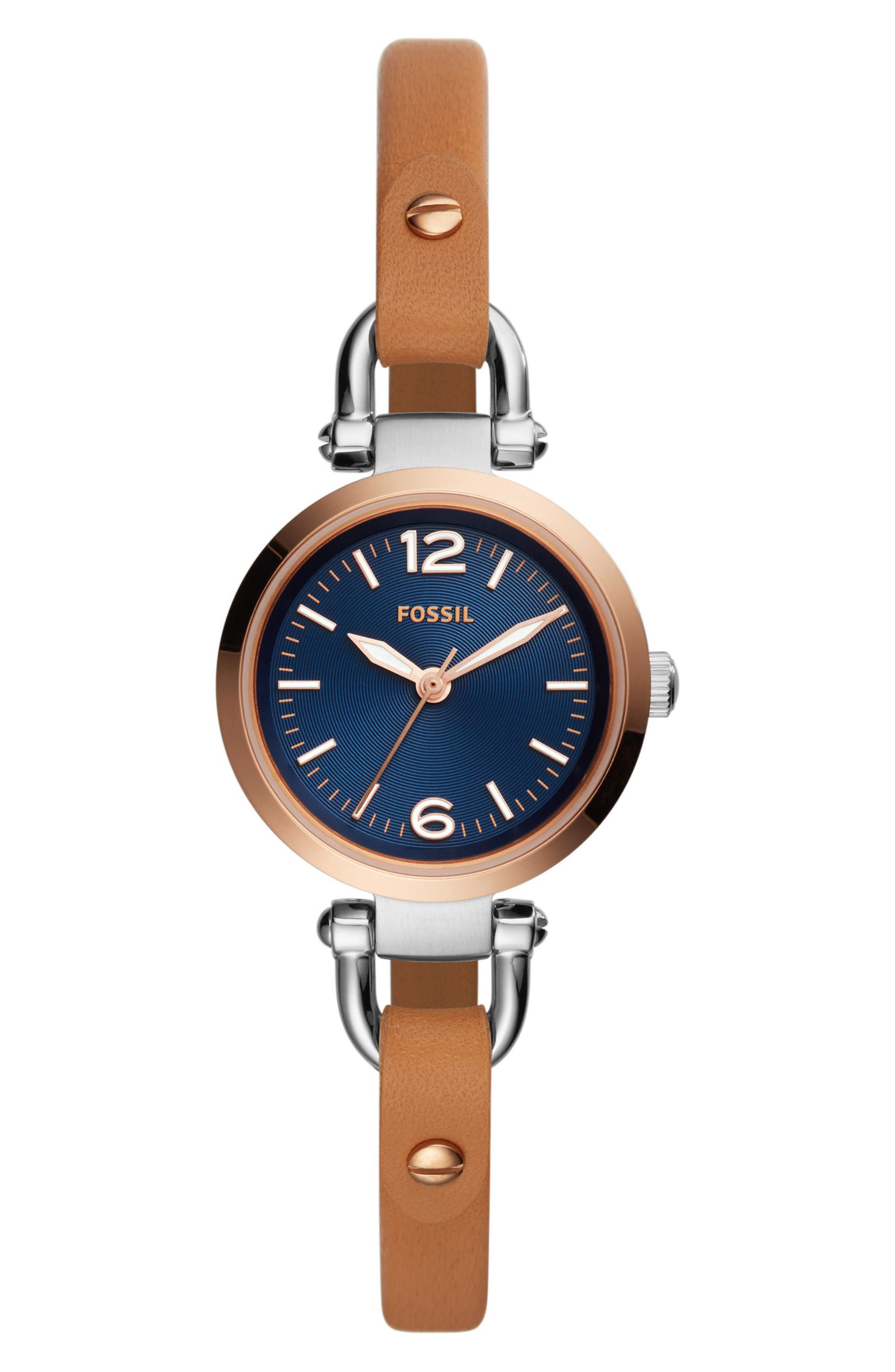 Georgia Leather Strap Watch, 26mm,                             Main thumbnail 1, color,                             Brown/ Blue/ Silver