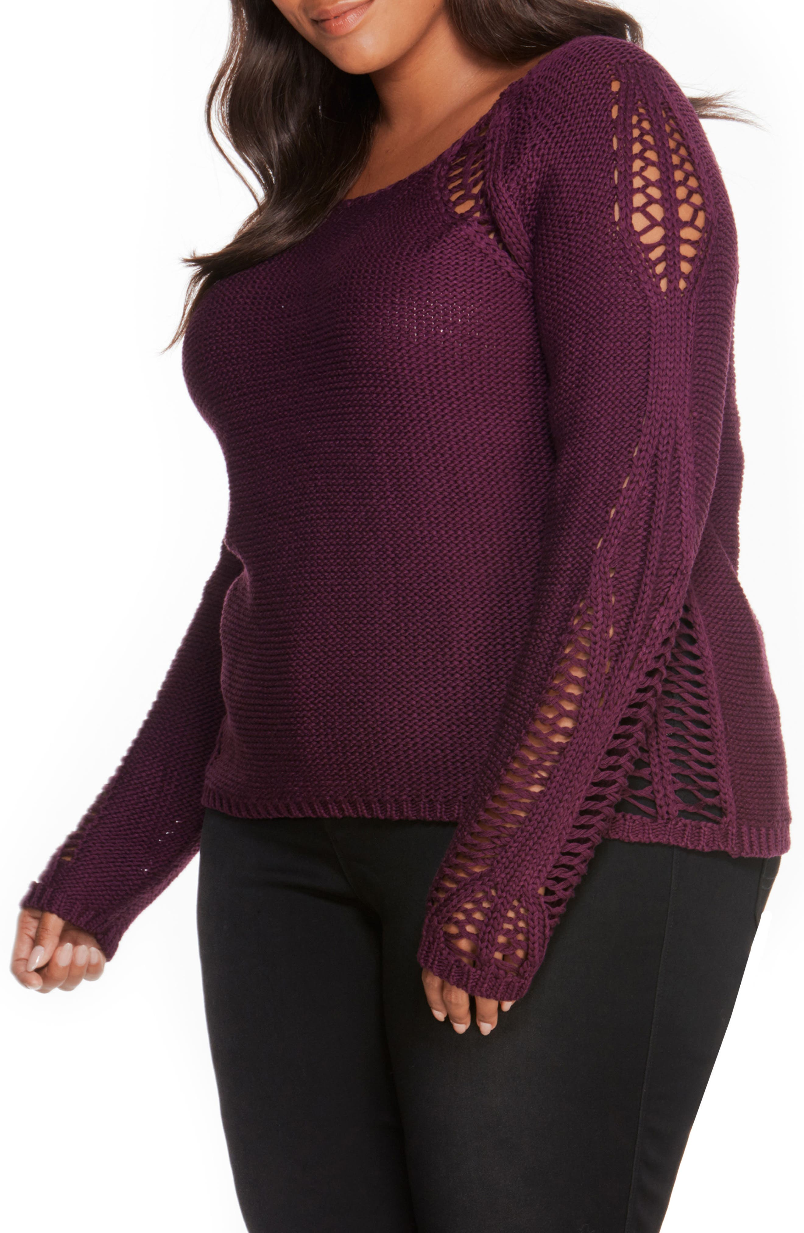 Open Stitch Sweater,                             Alternate thumbnail 3, color,                             Winter Bloom