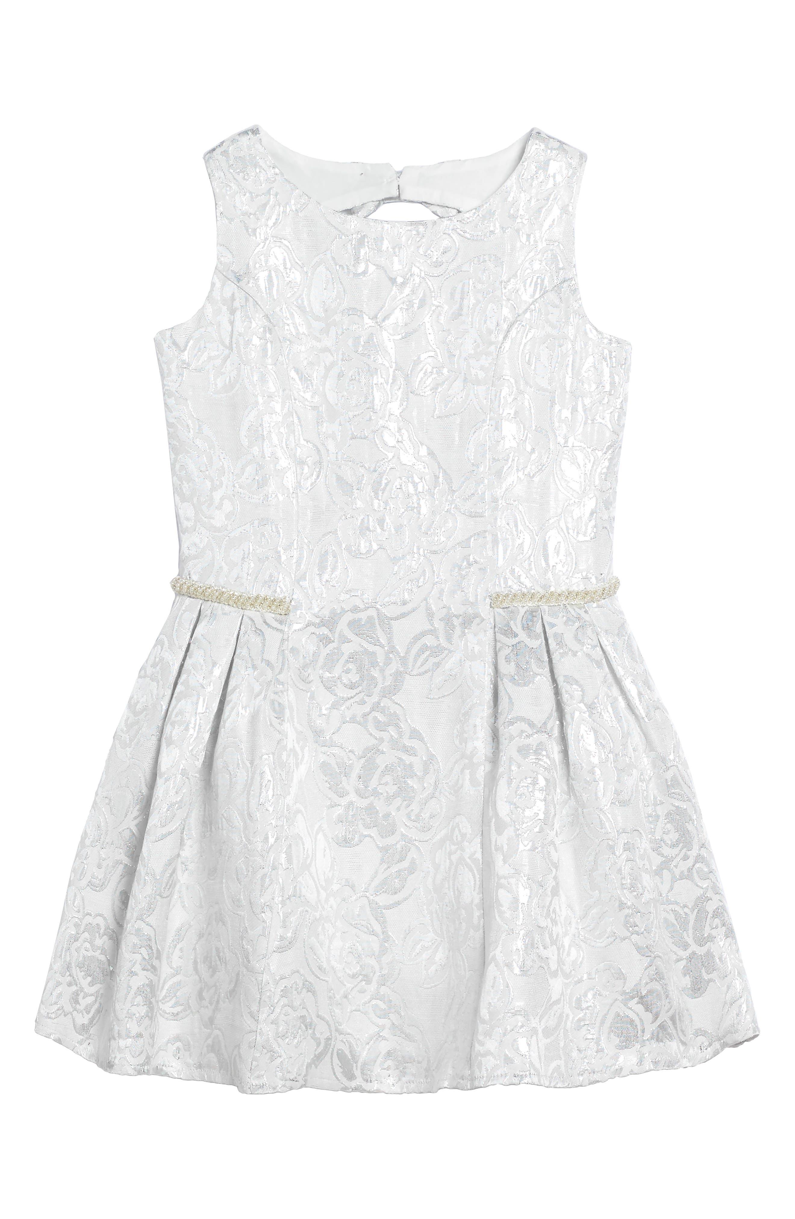 Princess Embroidered Dress,                             Main thumbnail 1, color,                             Silver