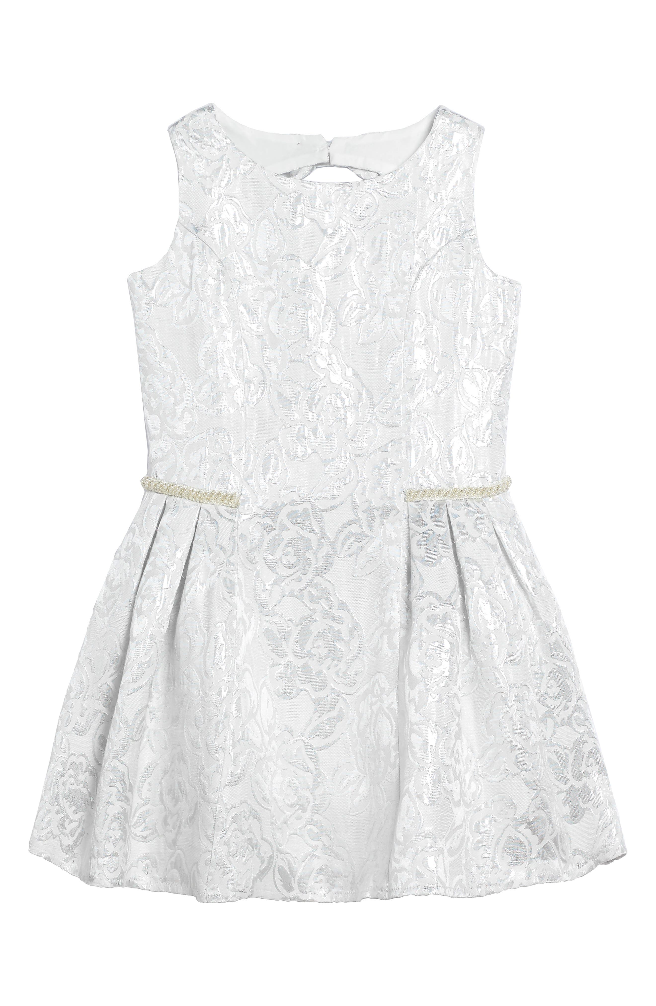 Princess Embroidered Dress,                         Main,                         color, Silver
