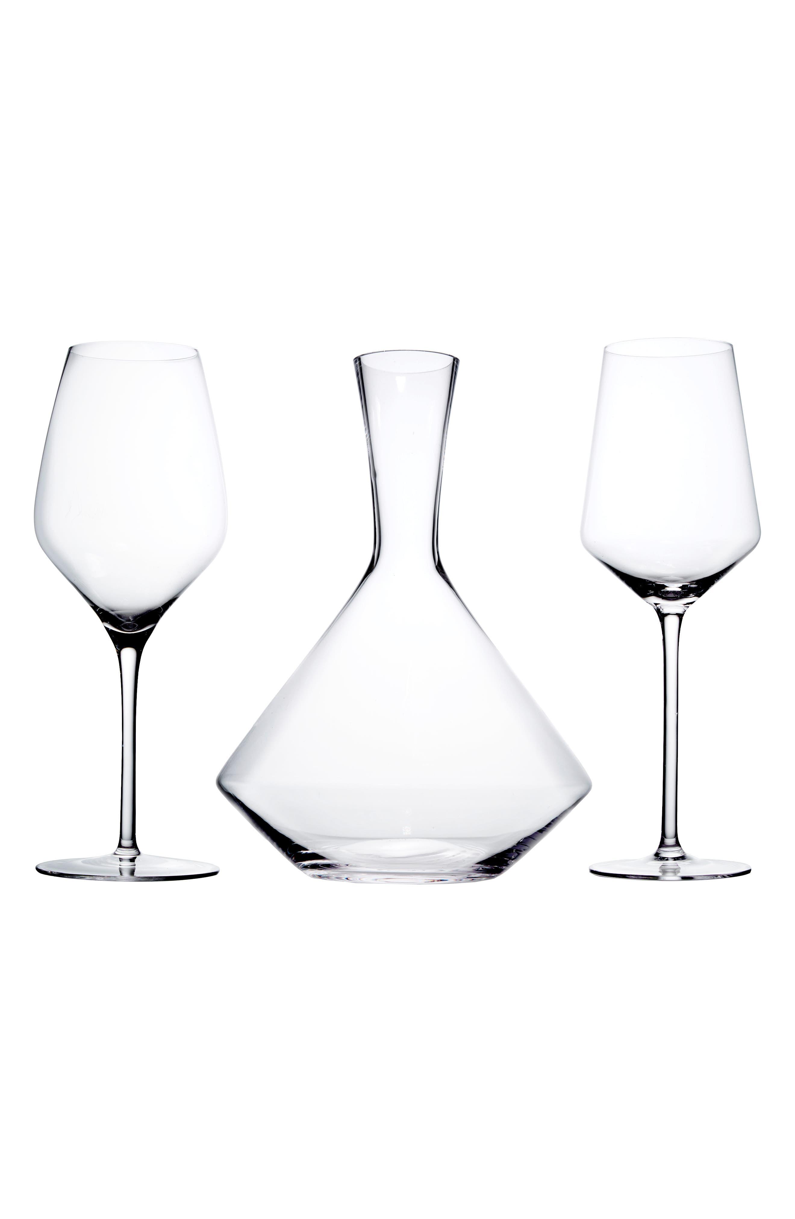 Raye Bordeaux 3-Piece Decanter Set,                             Main thumbnail 1, color,                             White