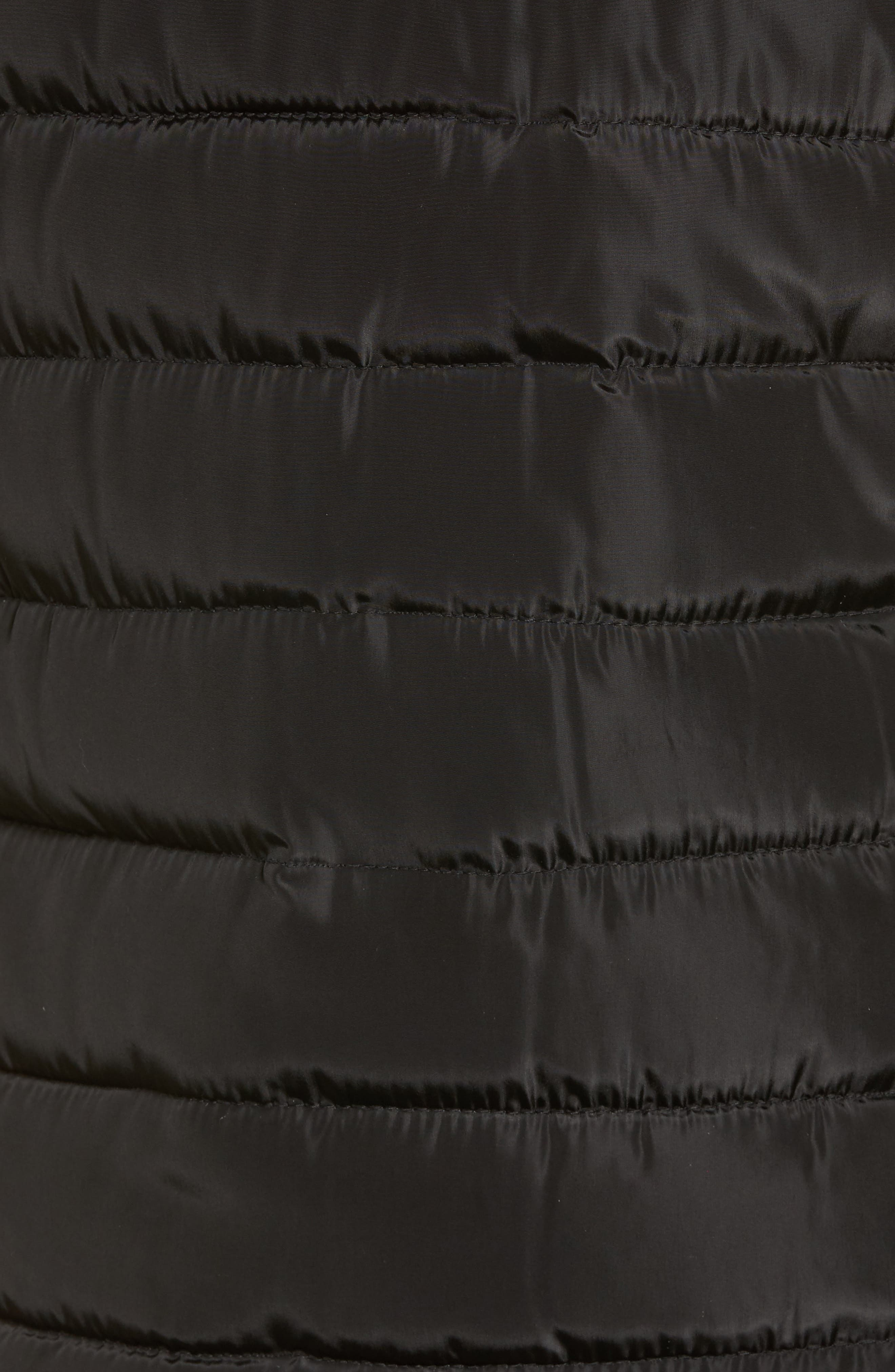 Faux Fur Trim Hooded Quilted Vest,                             Alternate thumbnail 5, color,                             Black