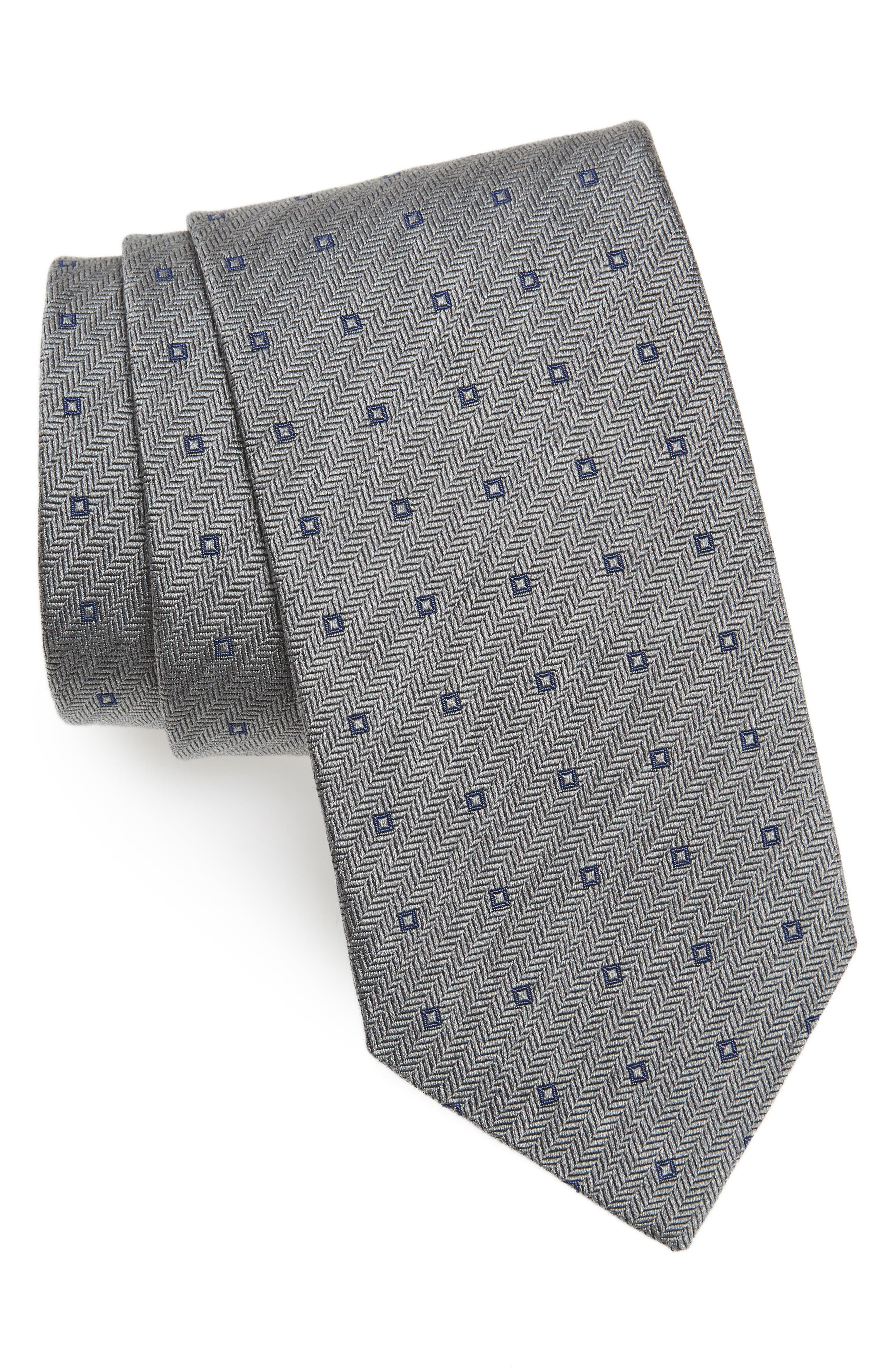 Square Dot Silk Tie,                             Main thumbnail 1, color,                             Charcoal/ Blue